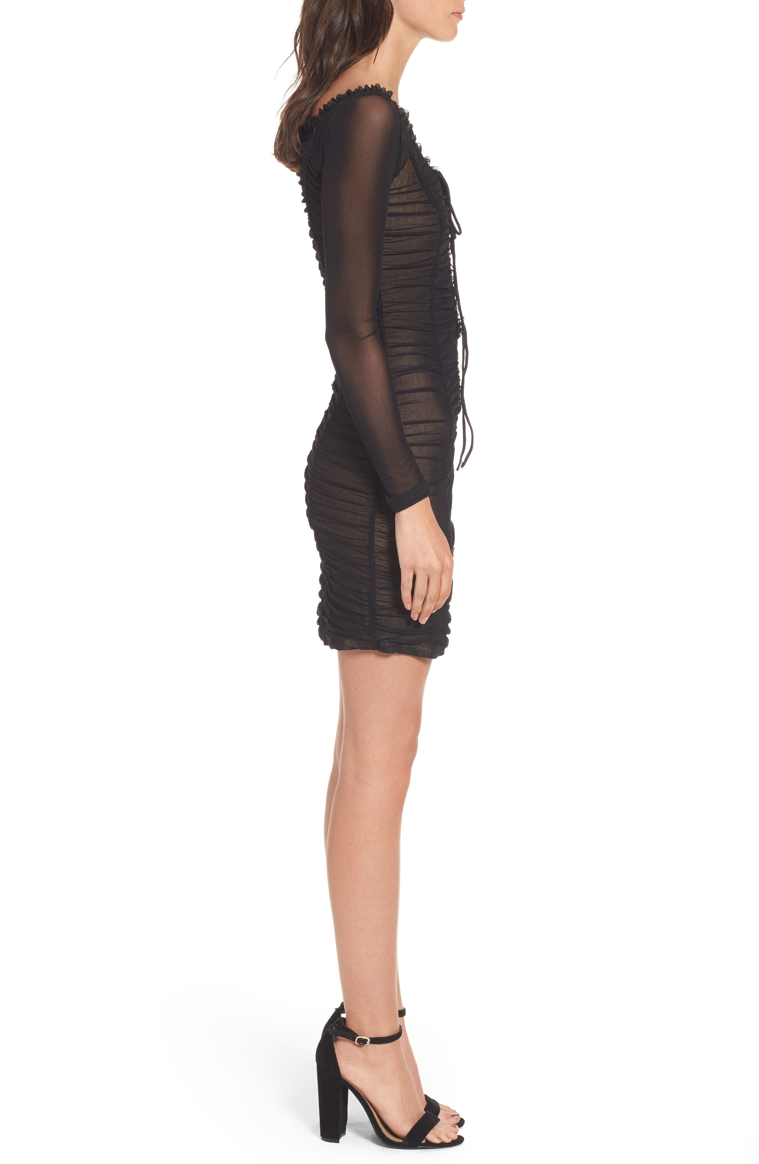 Jardin Ruched Body-Con Dress,                             Alternate thumbnail 3, color,                             001
