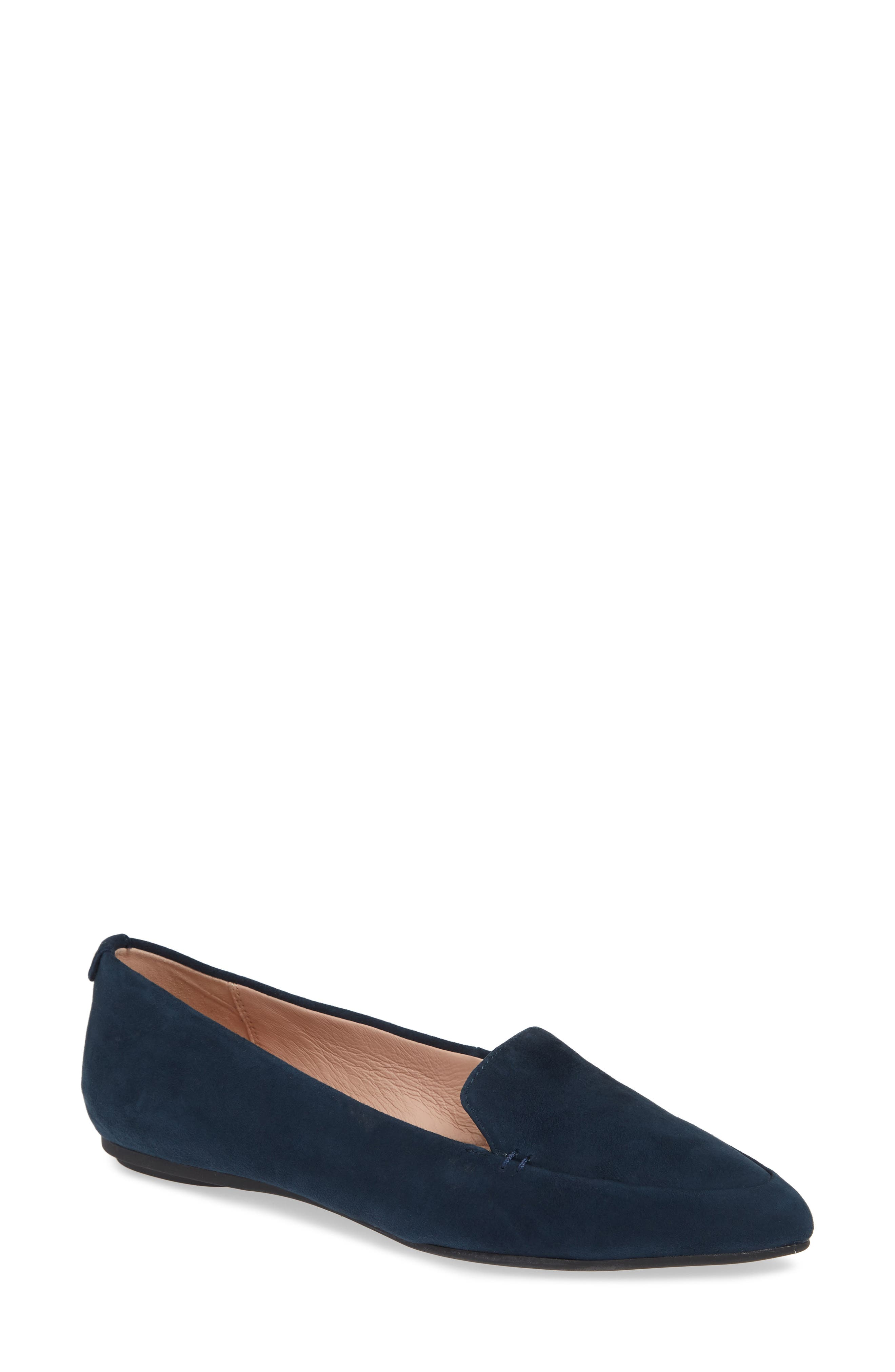 Faye Suede Flat Loafers in Midnight Suede