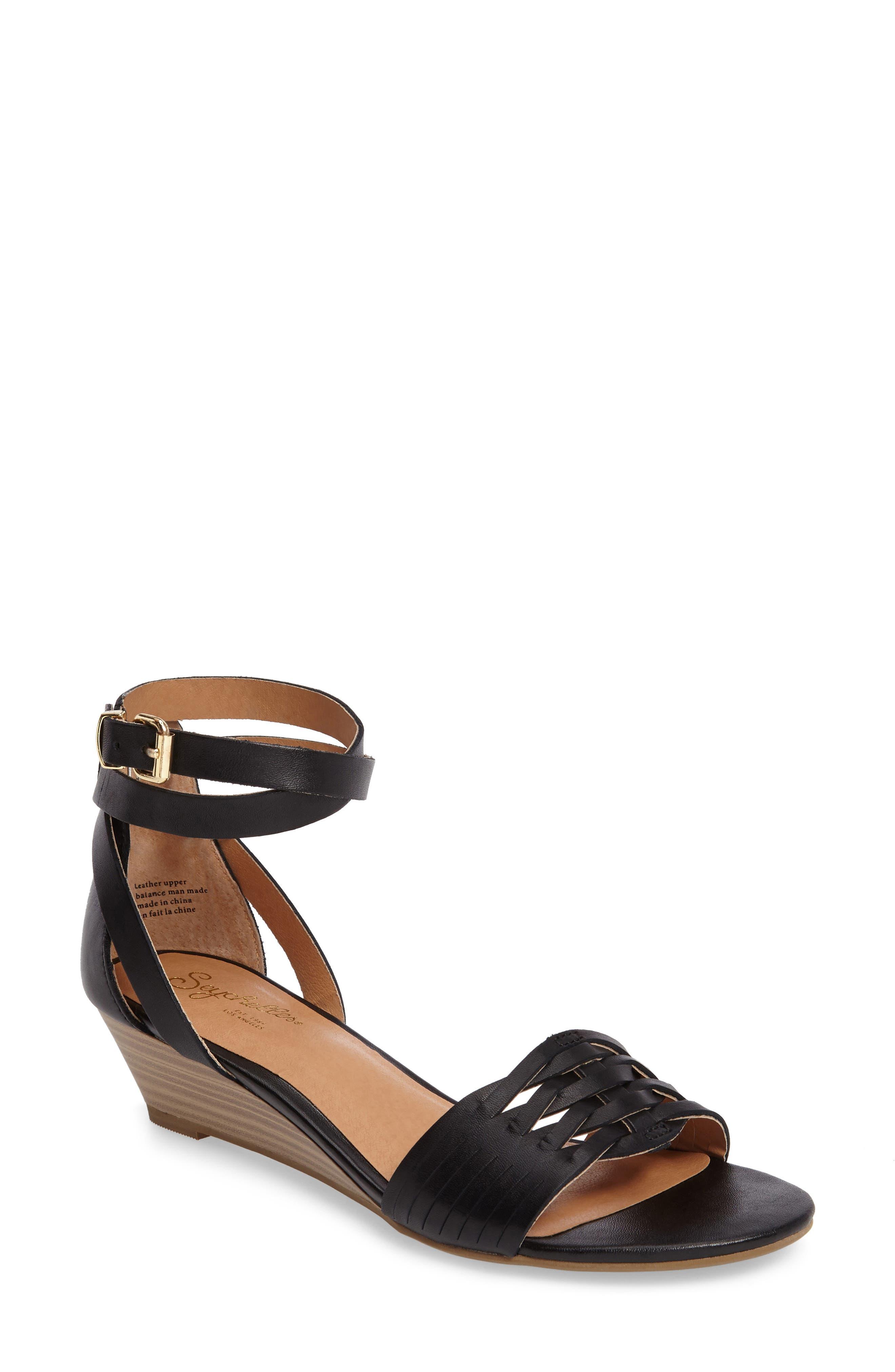 Sincere Wraparound Wedge Sandal, Main, color, 001