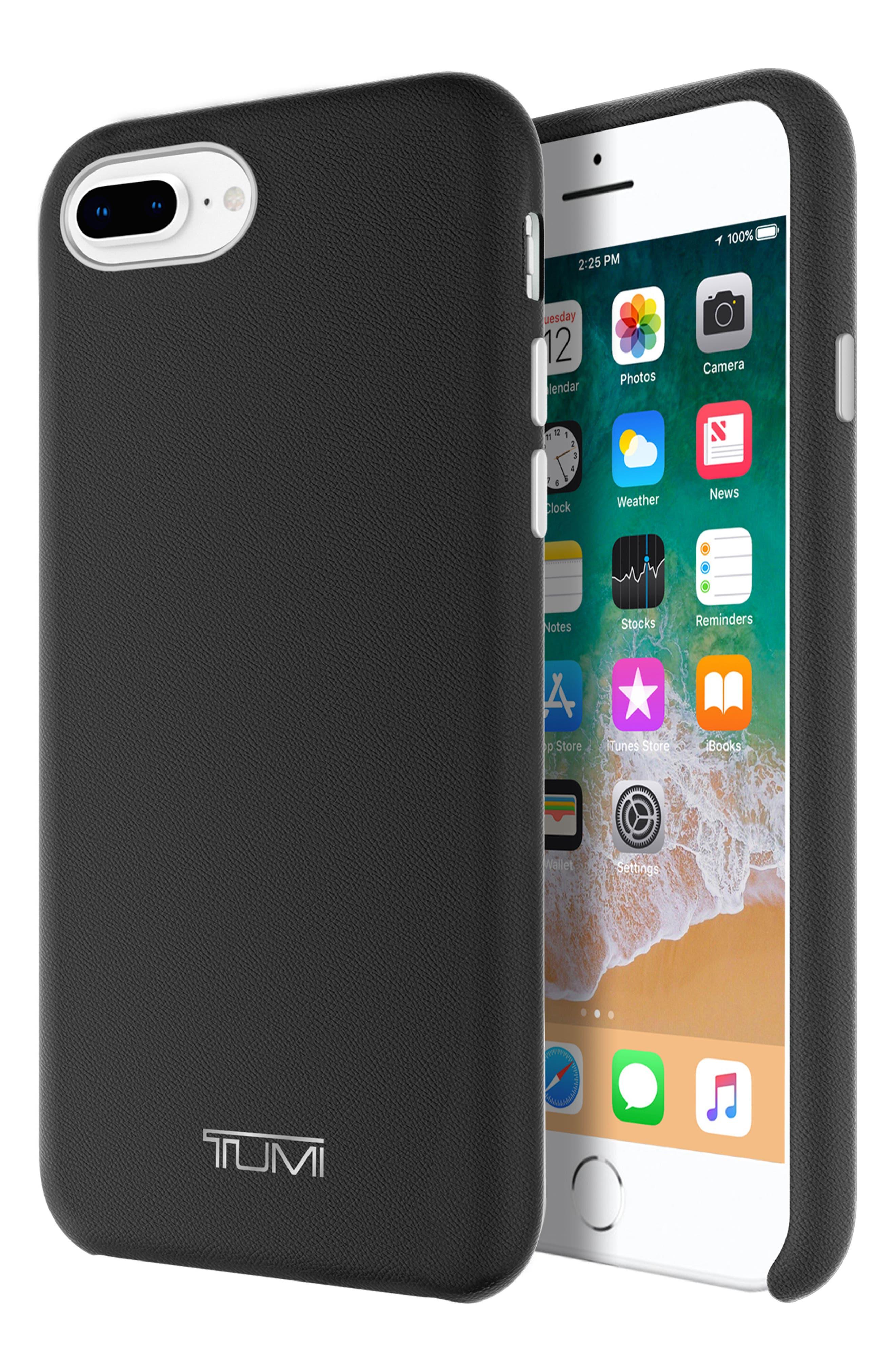 Leather Wrap iPhone 8 Plus Case,                             Alternate thumbnail 4, color,                             BLACK
