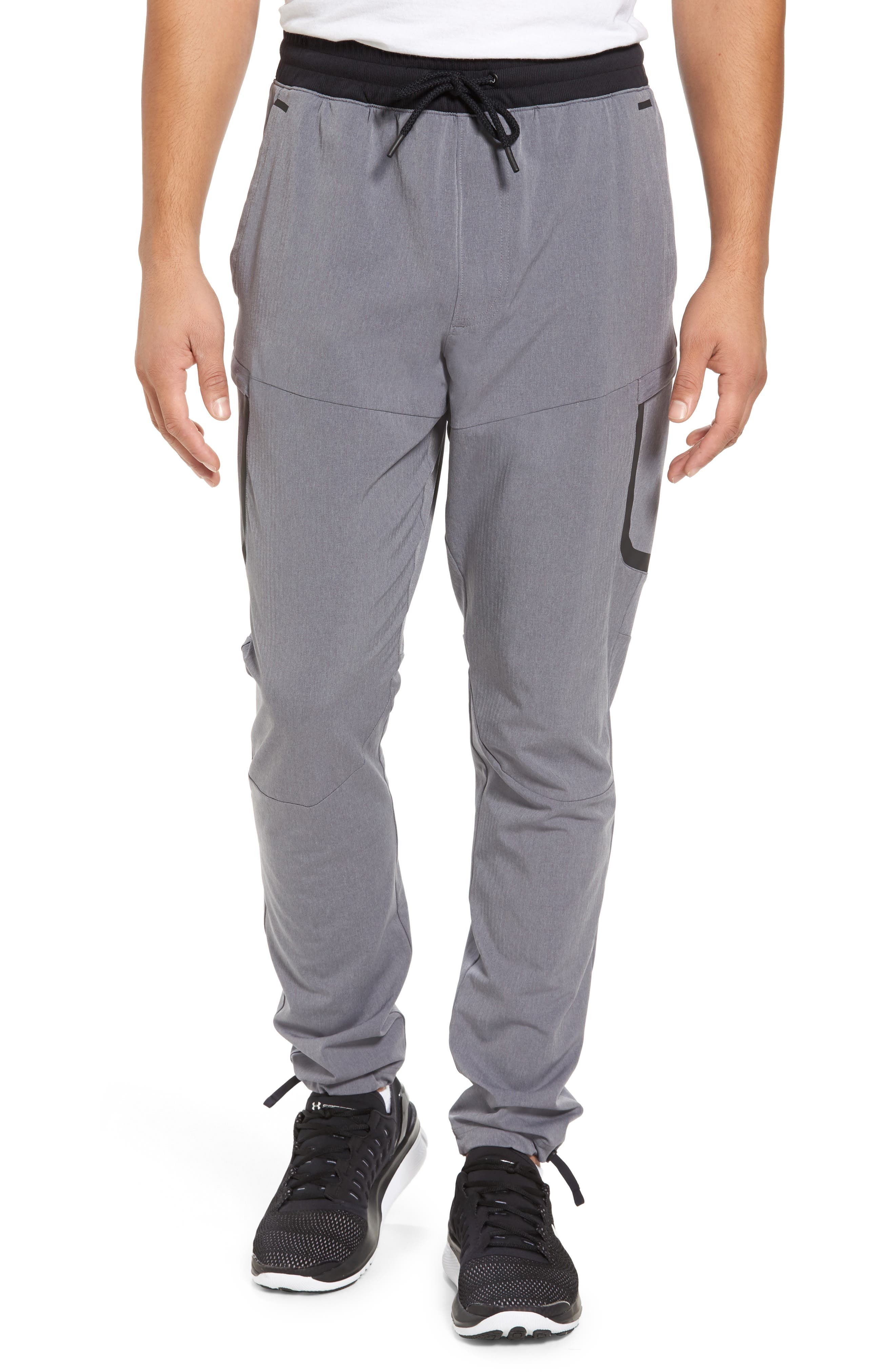 Sportstyle Elite Cargo Track Pants,                         Main,                         color, STEEL FULL HEATHER / BLACK