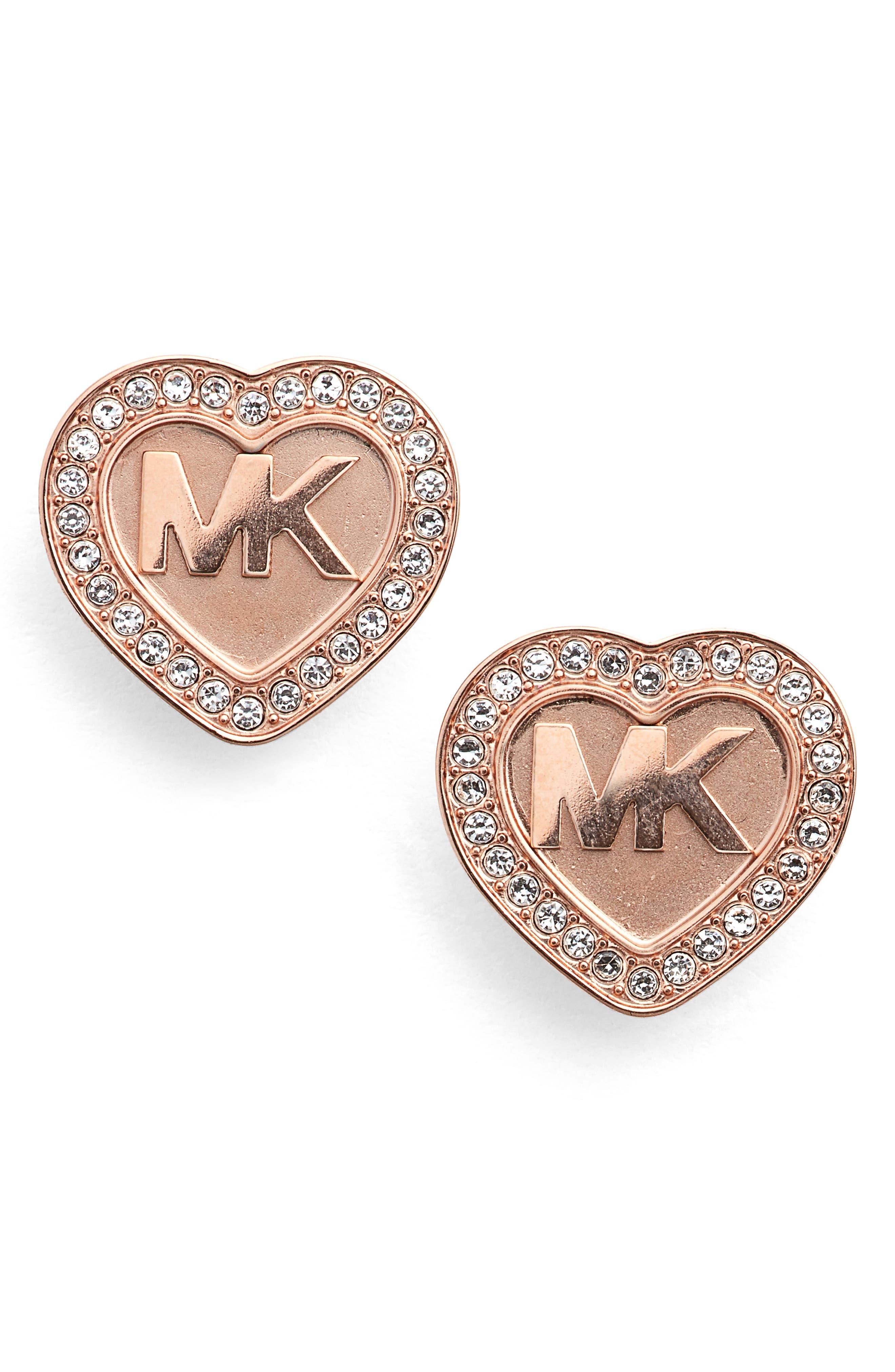 Heart Stud Earrings,                         Main,                         color,