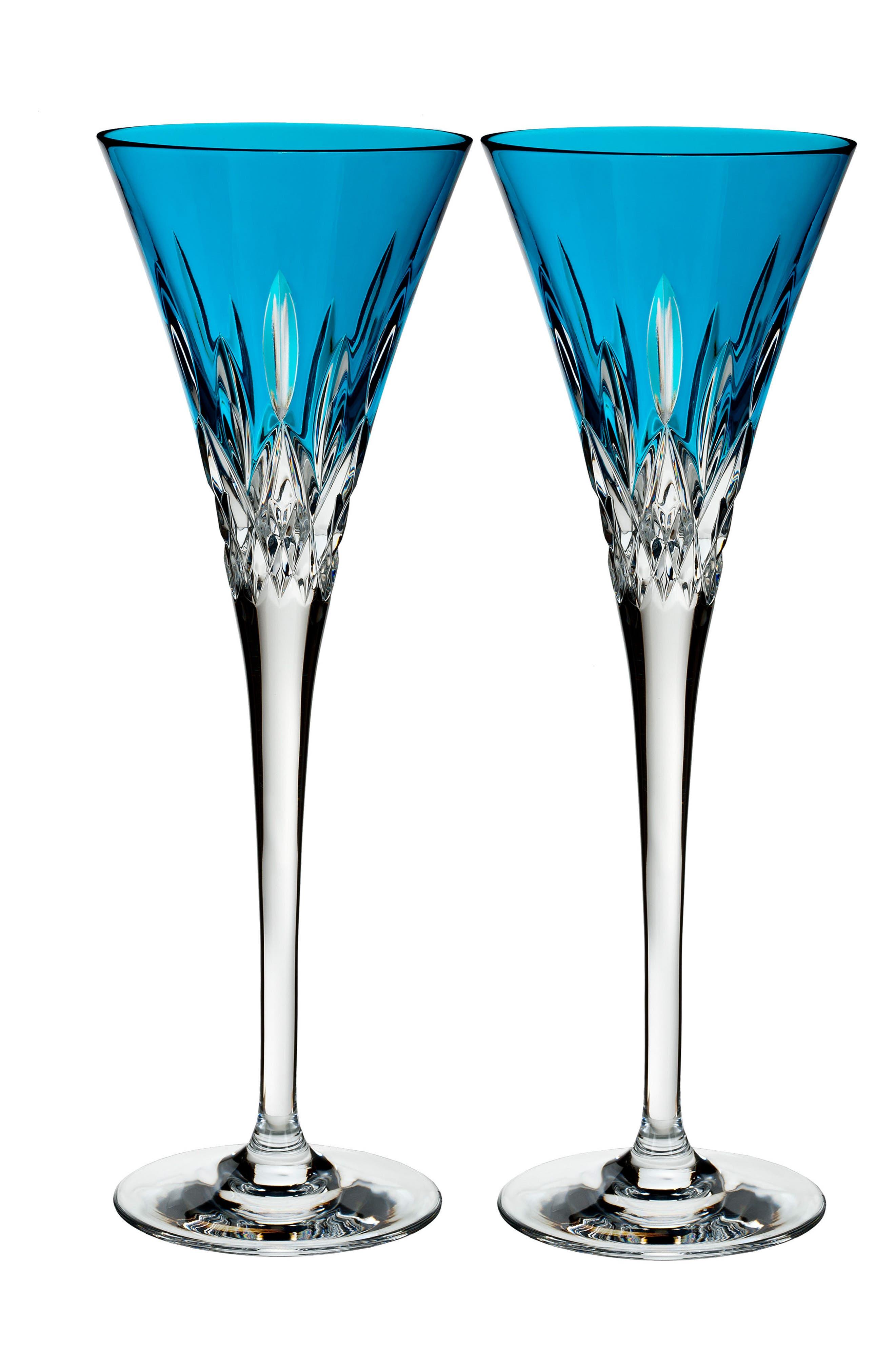 Lismore Pops Set of 2 Aqua Lead Crystal Champagne Flutes,                         Main,                         color, 100