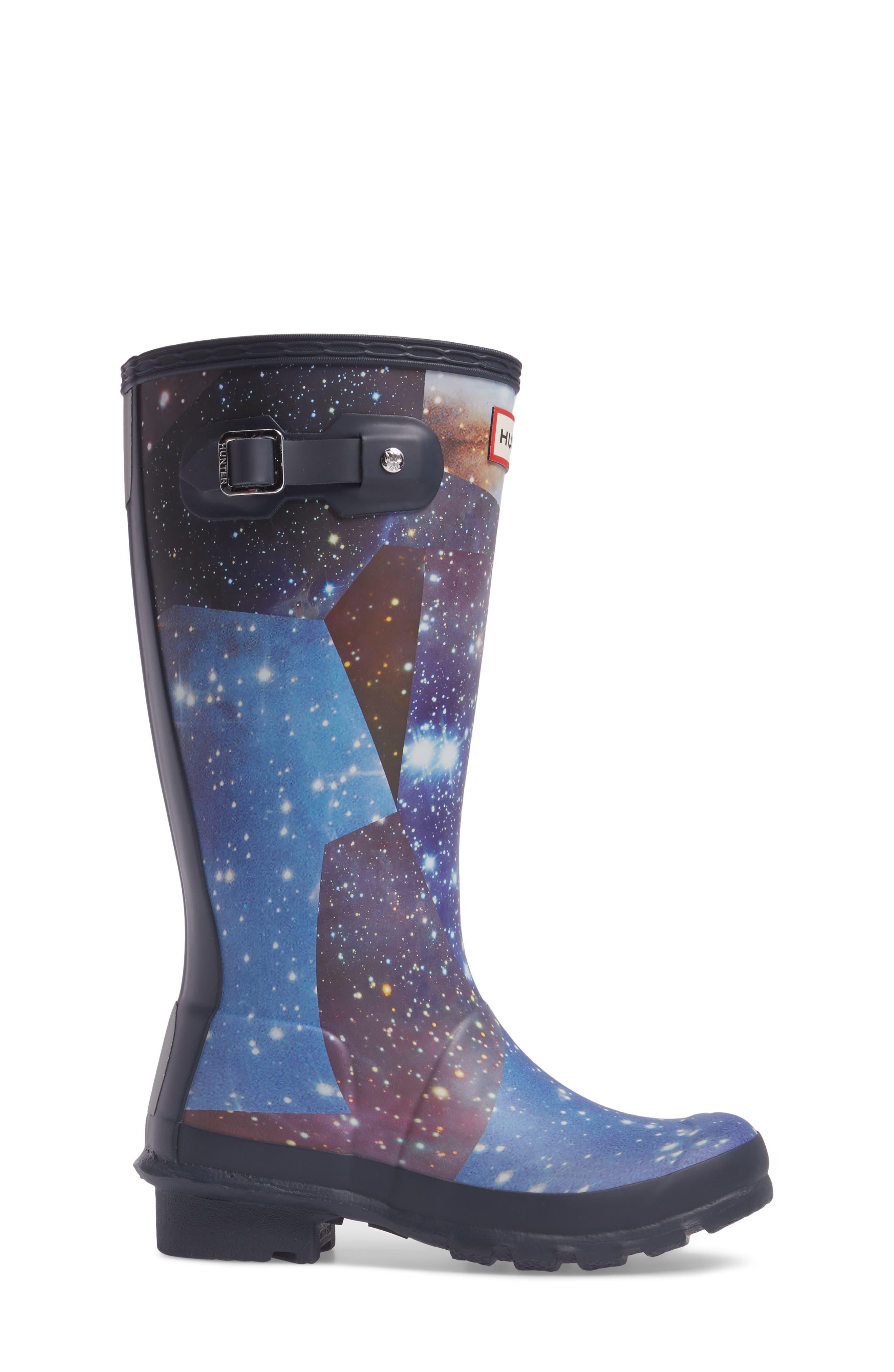 Space Camo Waterproof Rain Boot,                             Alternate thumbnail 3, color,