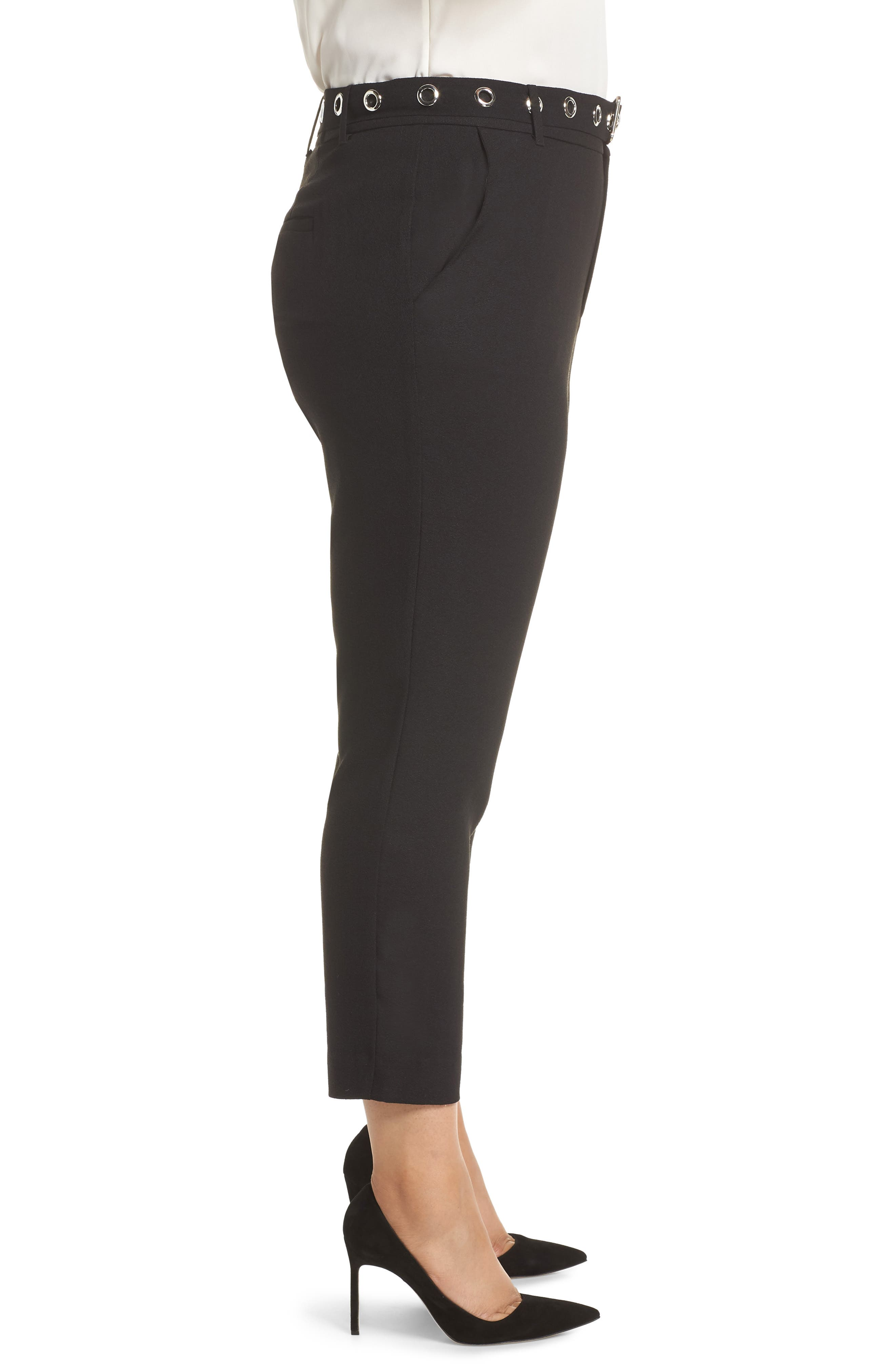 Grace Grommet Belt Pants,                             Alternate thumbnail 3, color,                             BLACK