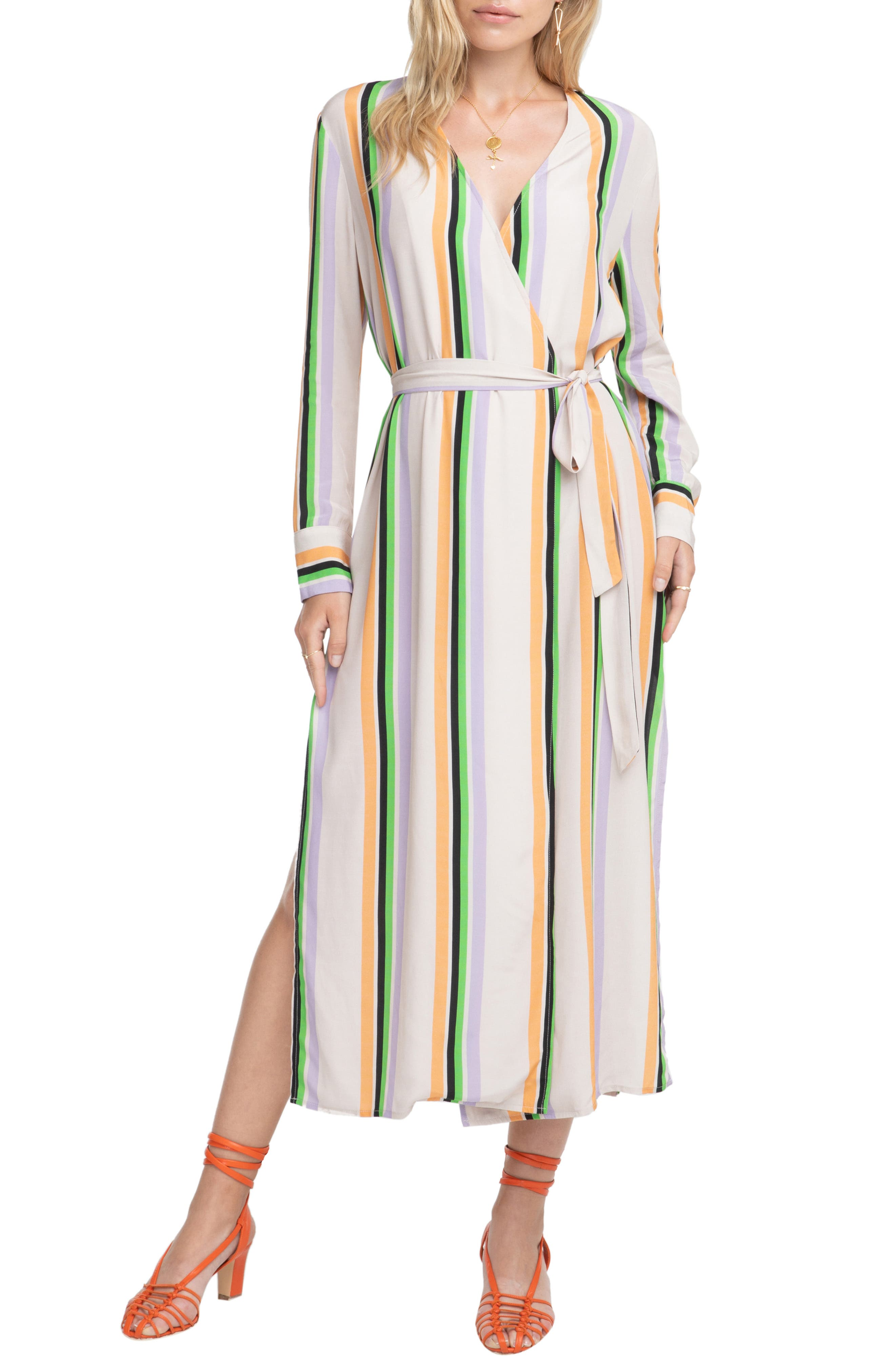 Astr The Label Micah Stripe Maxi Dress, Beige