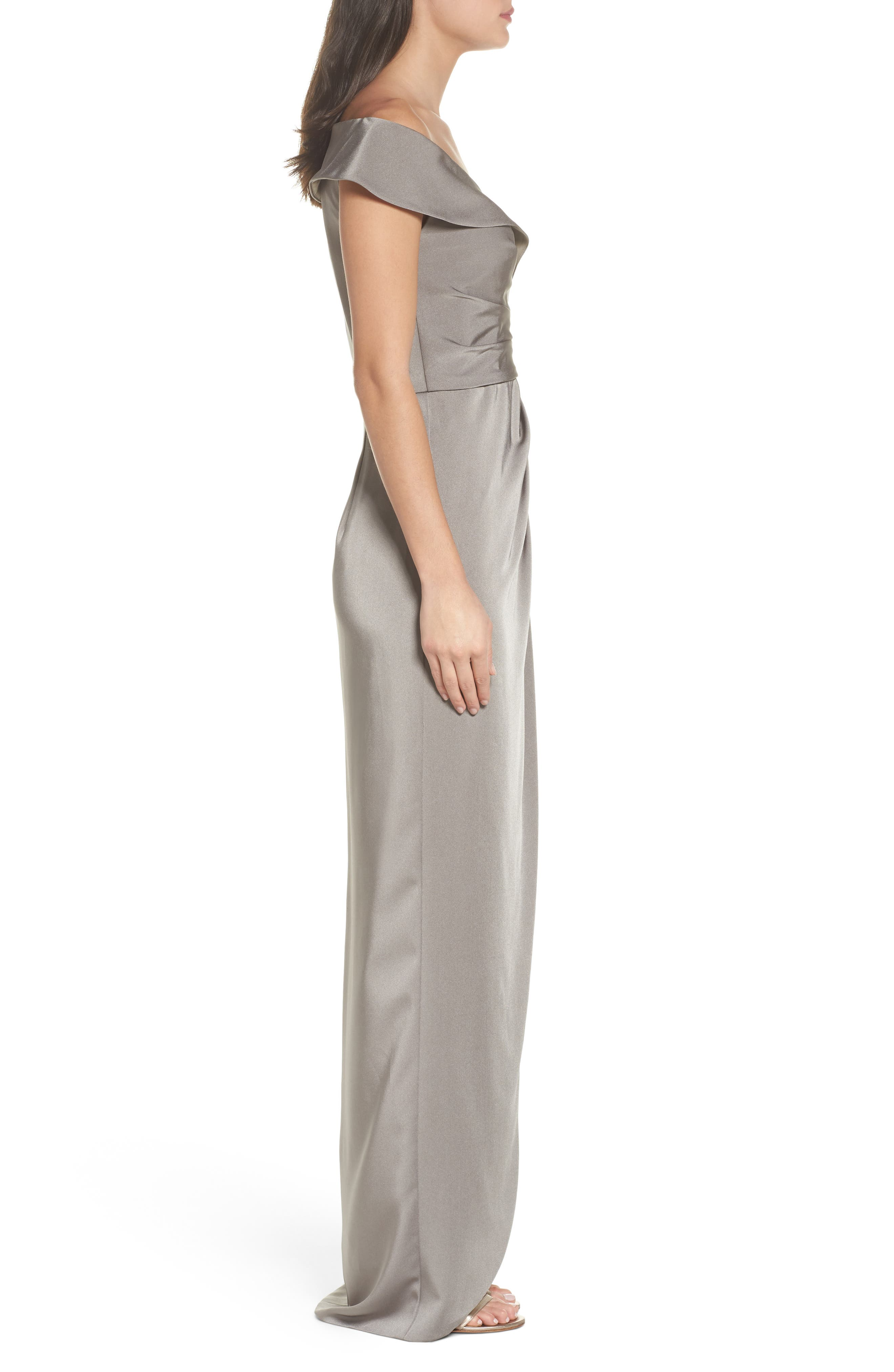 Surplice Off the Shoulder Gown,                             Alternate thumbnail 3, color,                             PEWTER