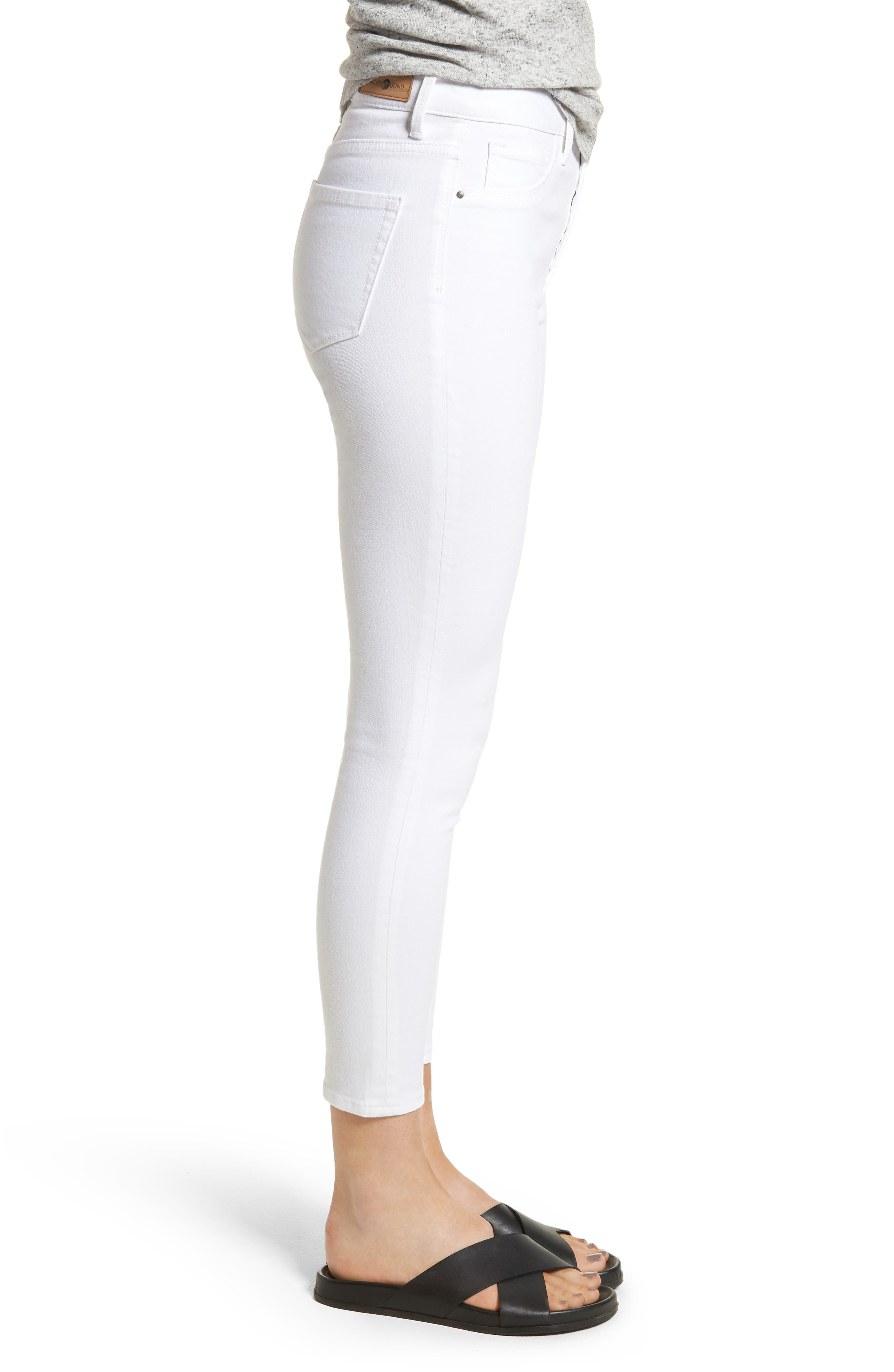 Charity High Waist Crop Skinny Jeans,                             Alternate thumbnail 3, color,                             100