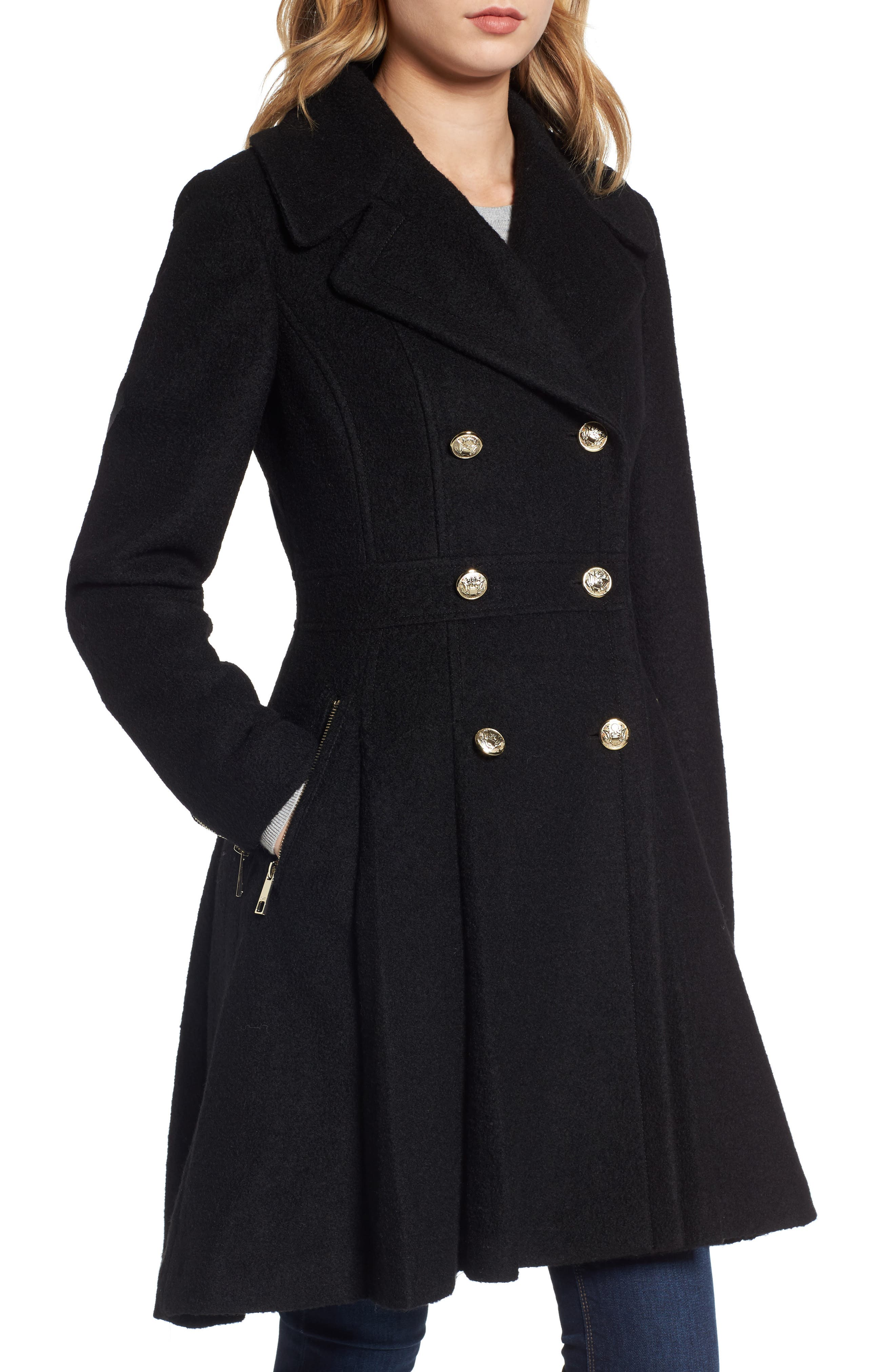 Double Breasted Wool Blend Coat,                             Alternate thumbnail 10, color,