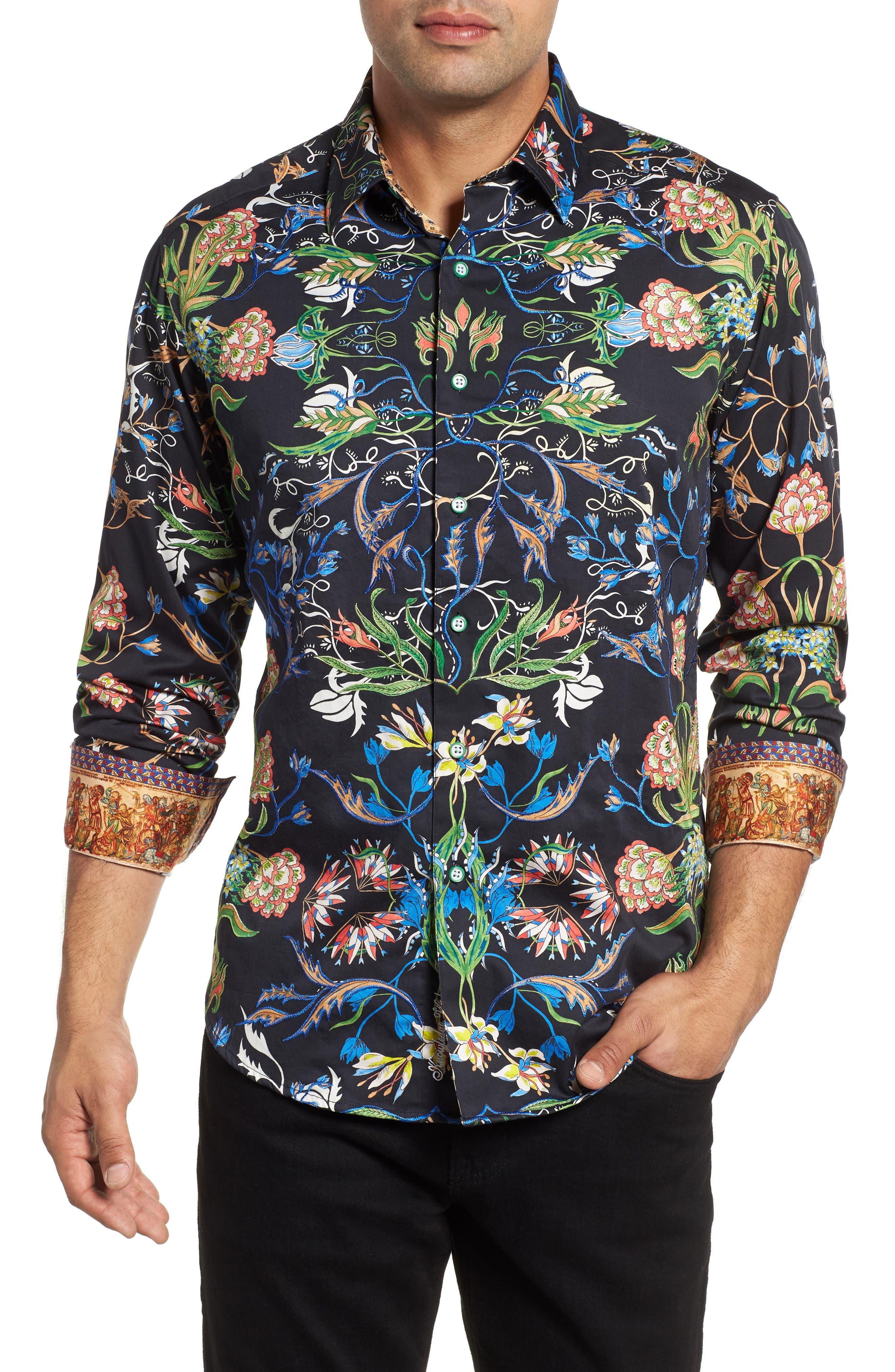 ROBERT GRAHAM,                             Warner Classic Fit Sport Shirt,                             Main thumbnail 1, color,                             001