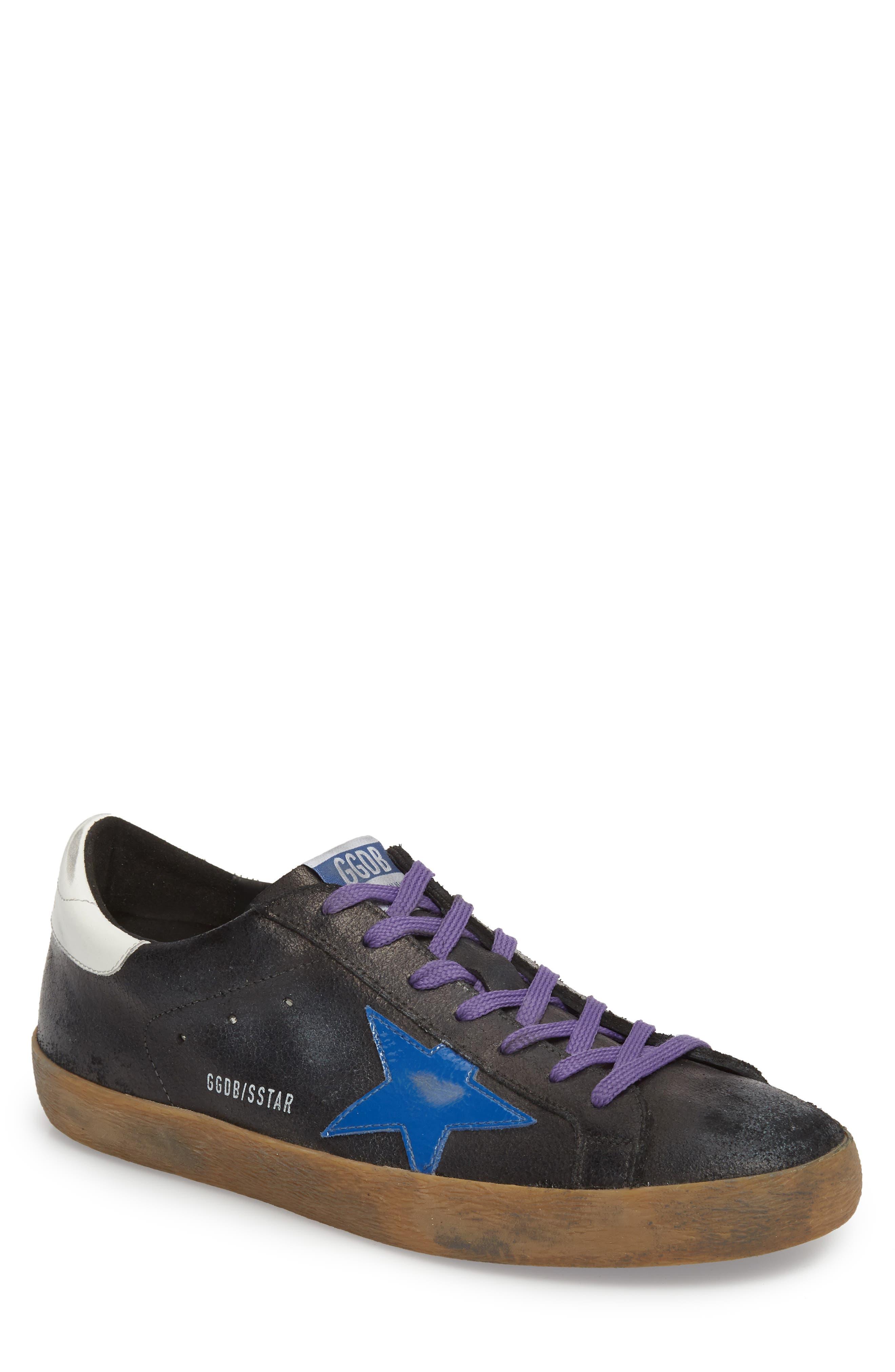 'Superstar' Sneaker,                         Main,                         color, BLACK CRACK-BLUE STAR