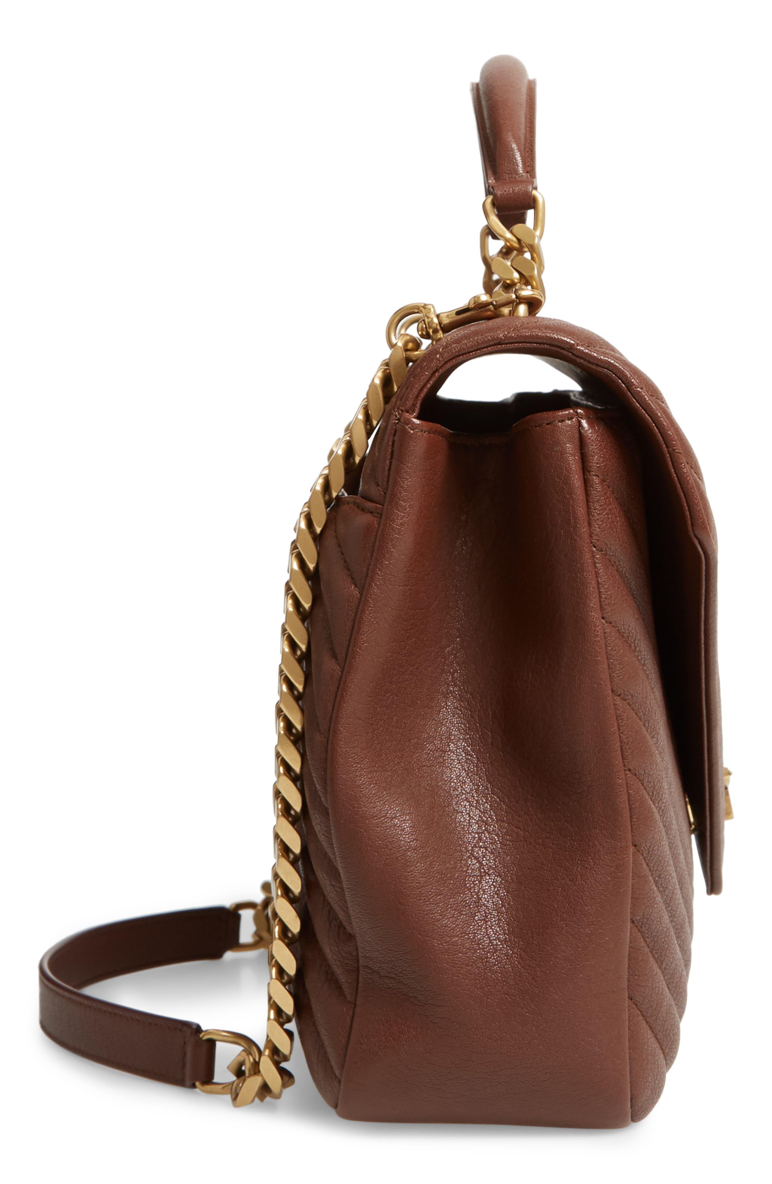 Medium College Shoulder Bag,                             Alternate thumbnail 5, color,                             BRANDY OLD