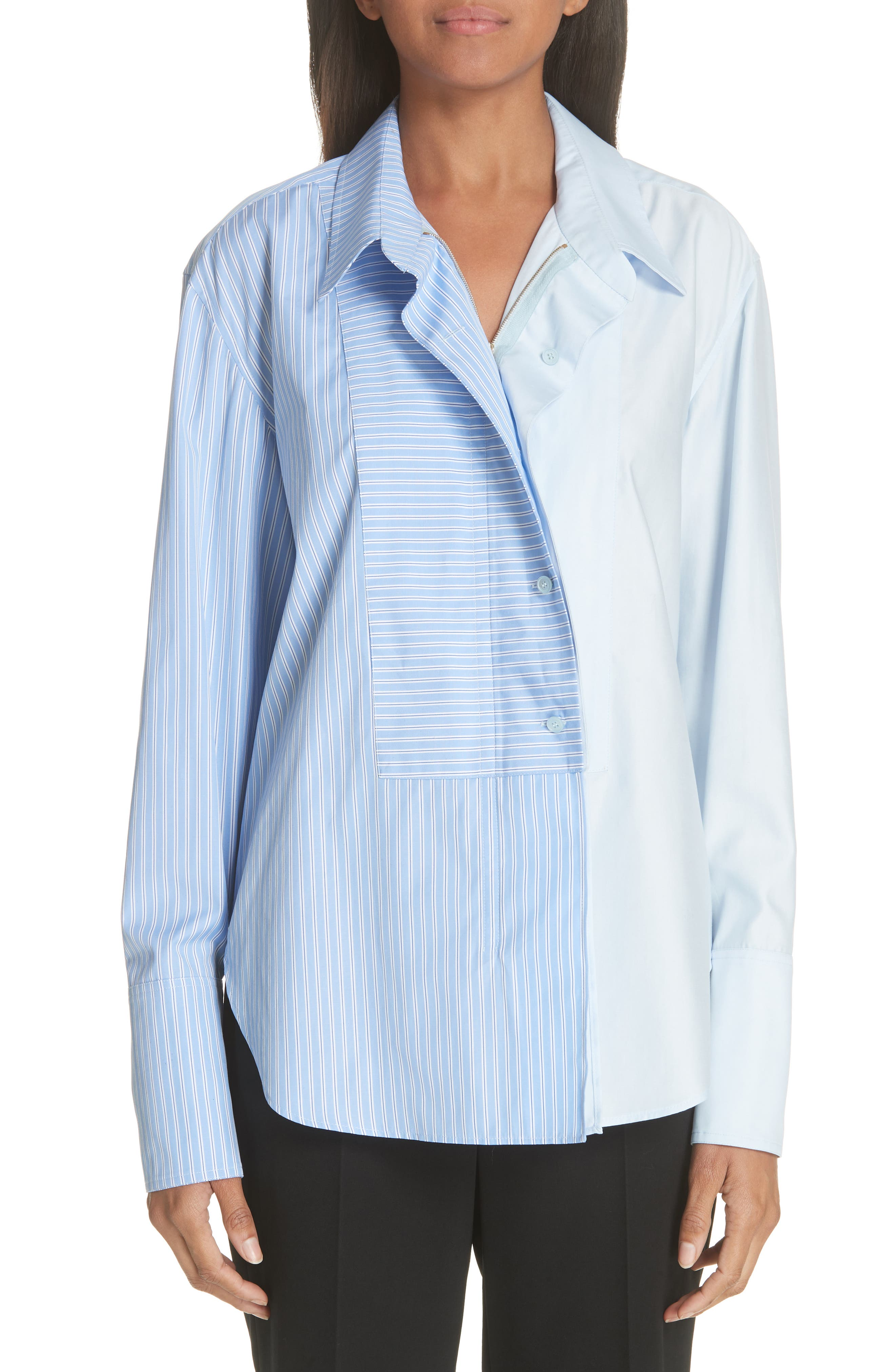 Two-Tone Zip Front Poplin Shirt,                         Main,                         color, SKY BLUE