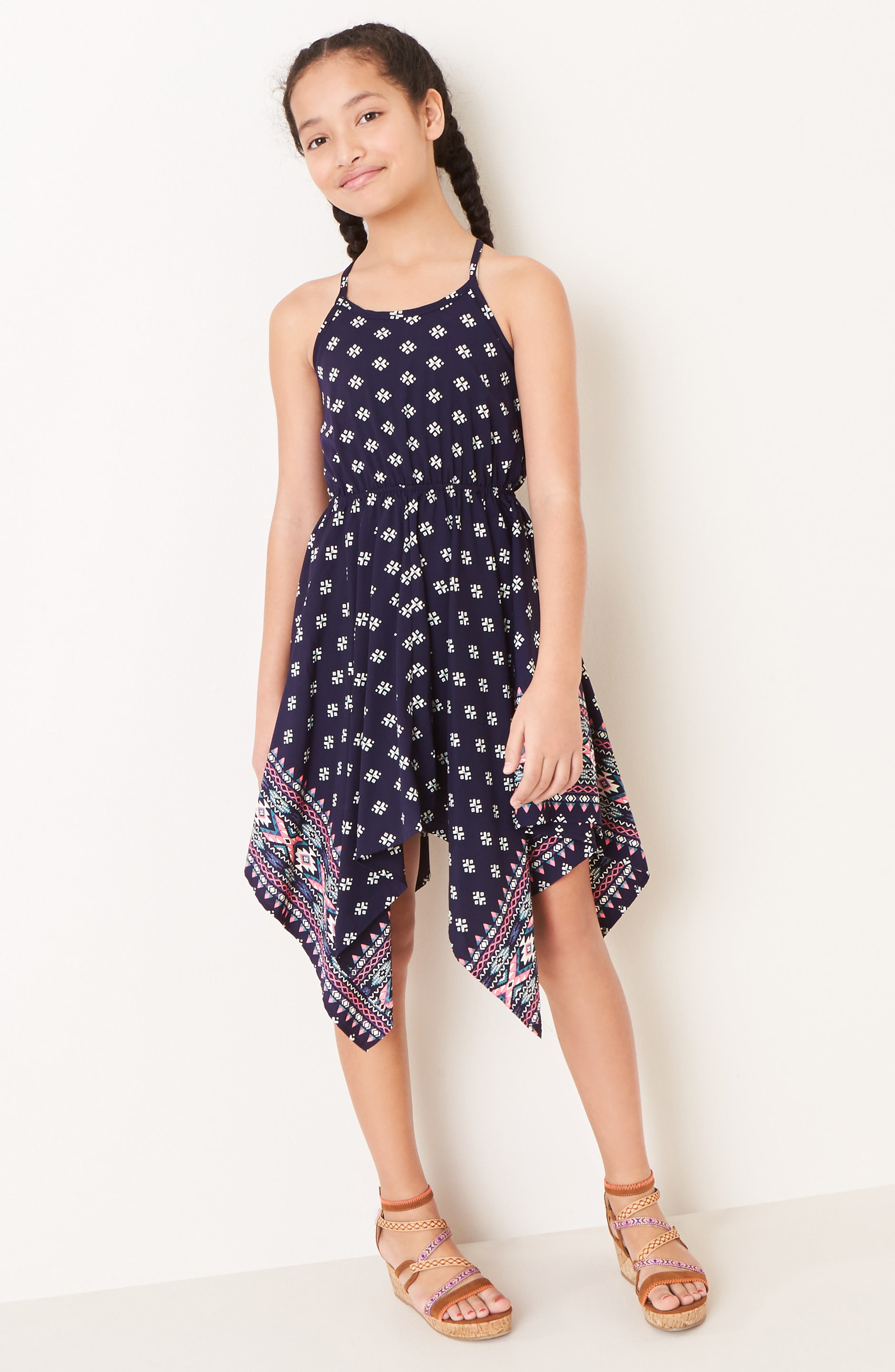 Print Handkerchief Dress,                             Alternate thumbnail 2, color,                             NAVY/ PINK