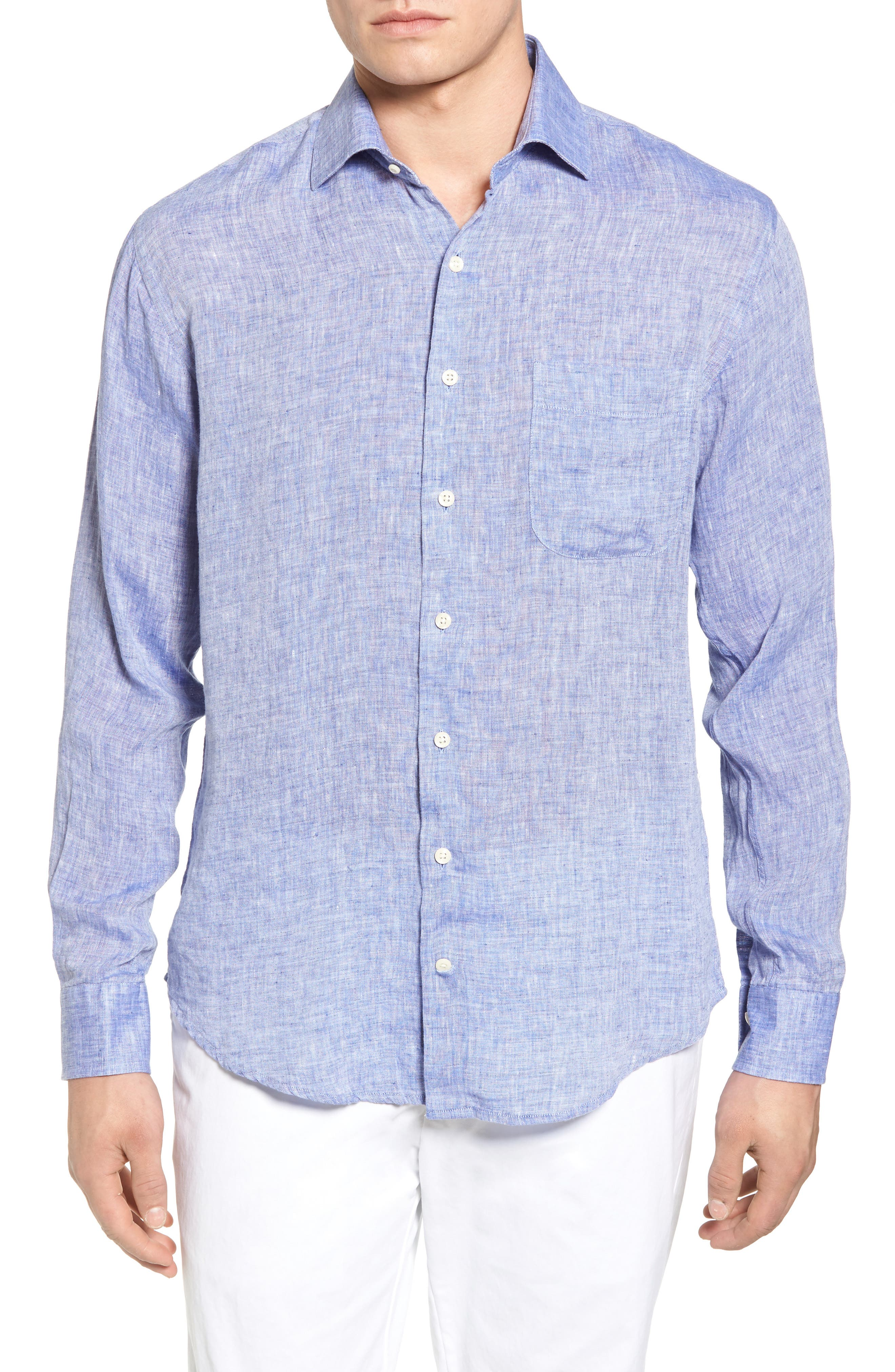 Classic Fit Crown Cool Linen Sport Shirt,                         Main,                         color, YANKEE BLUE