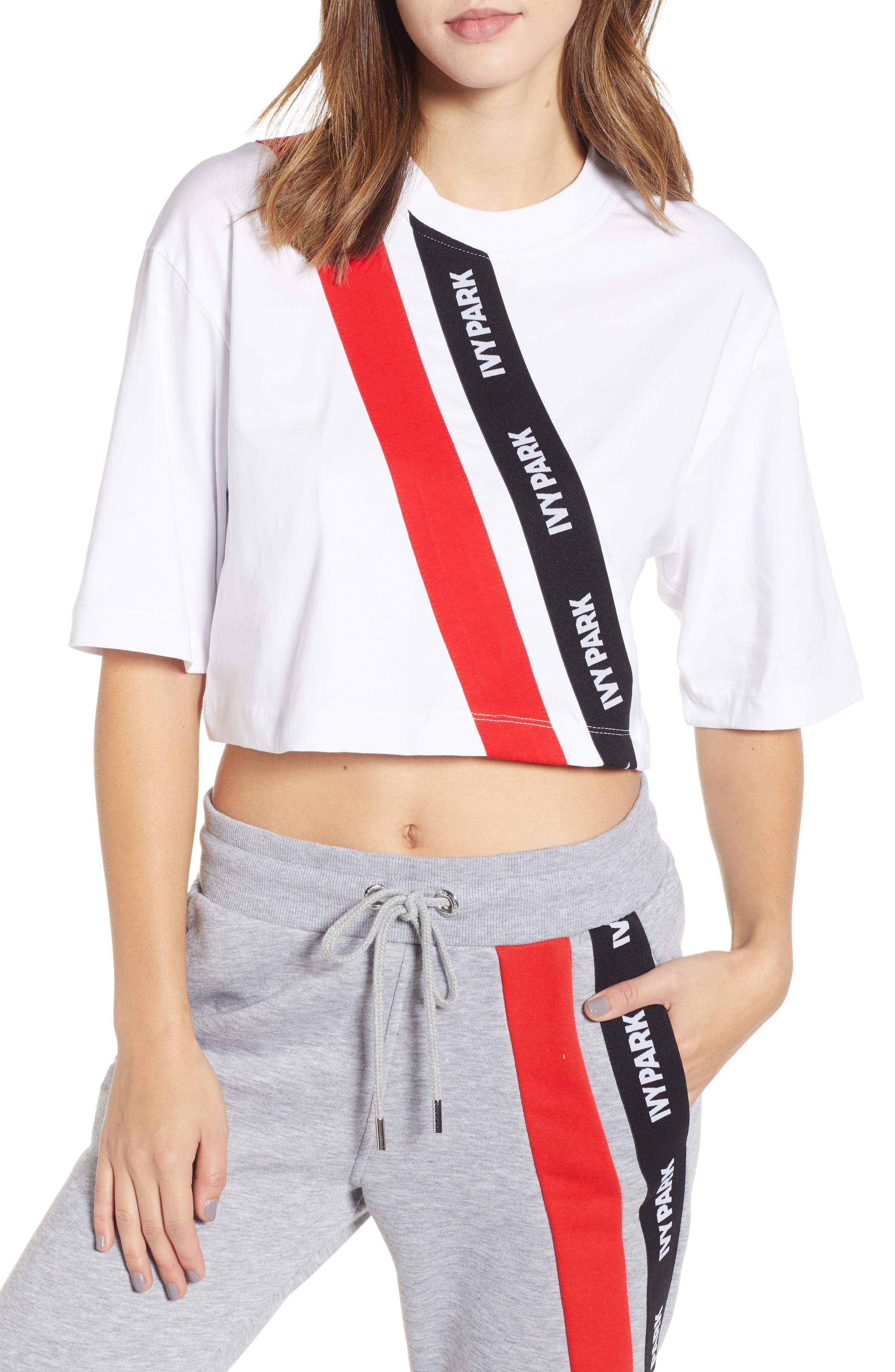 Ivy Park Logo Stripe Crop Tee, White