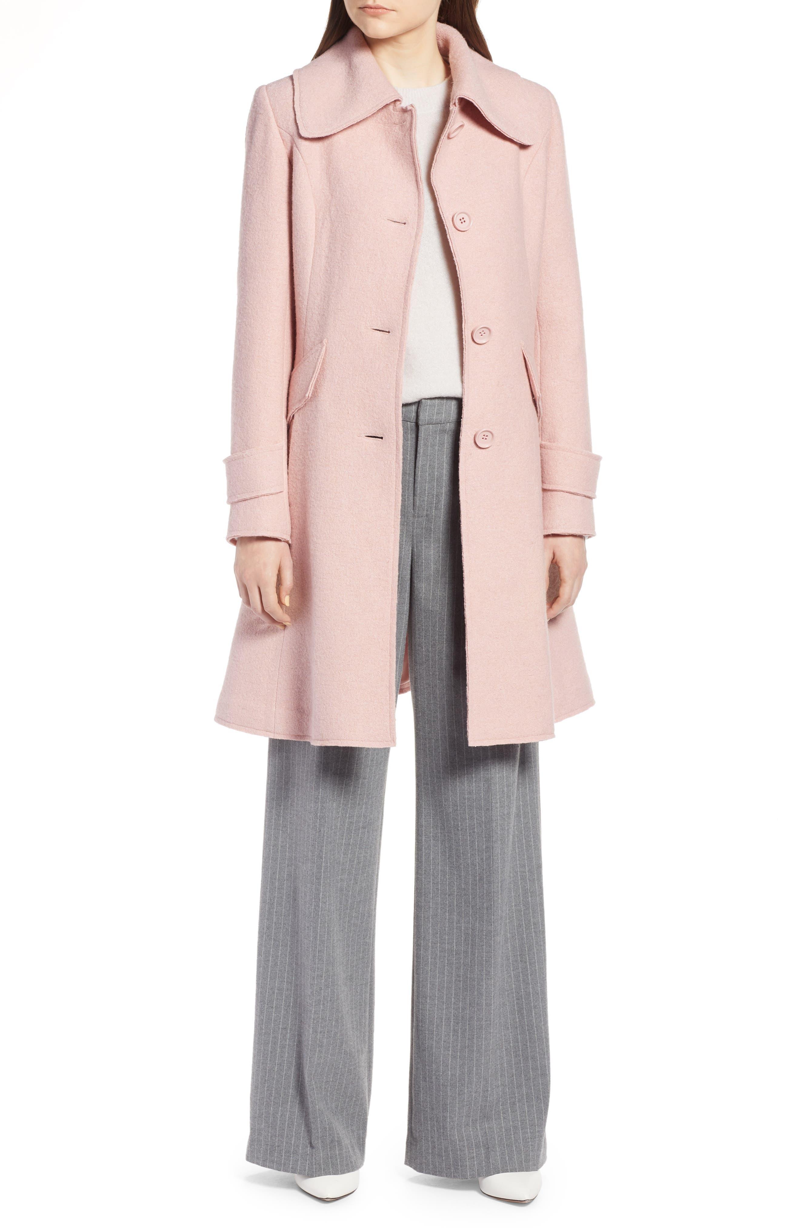 Boiled Wool Blend Fit & Flare Coat,                         Main,                         color, BLUSH