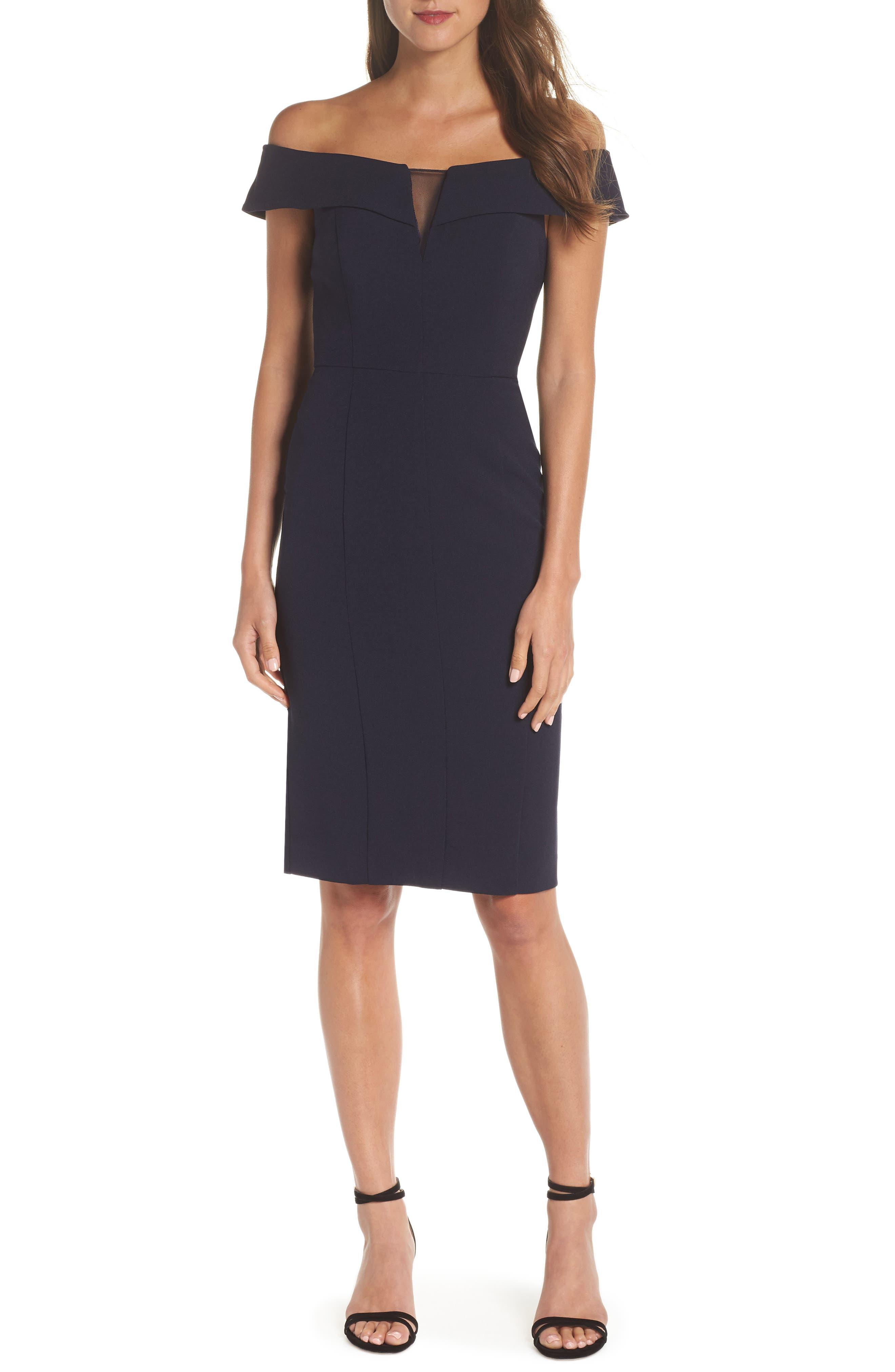 Off the Shoulder Crepe Dress,                         Main,                         color, NAVY