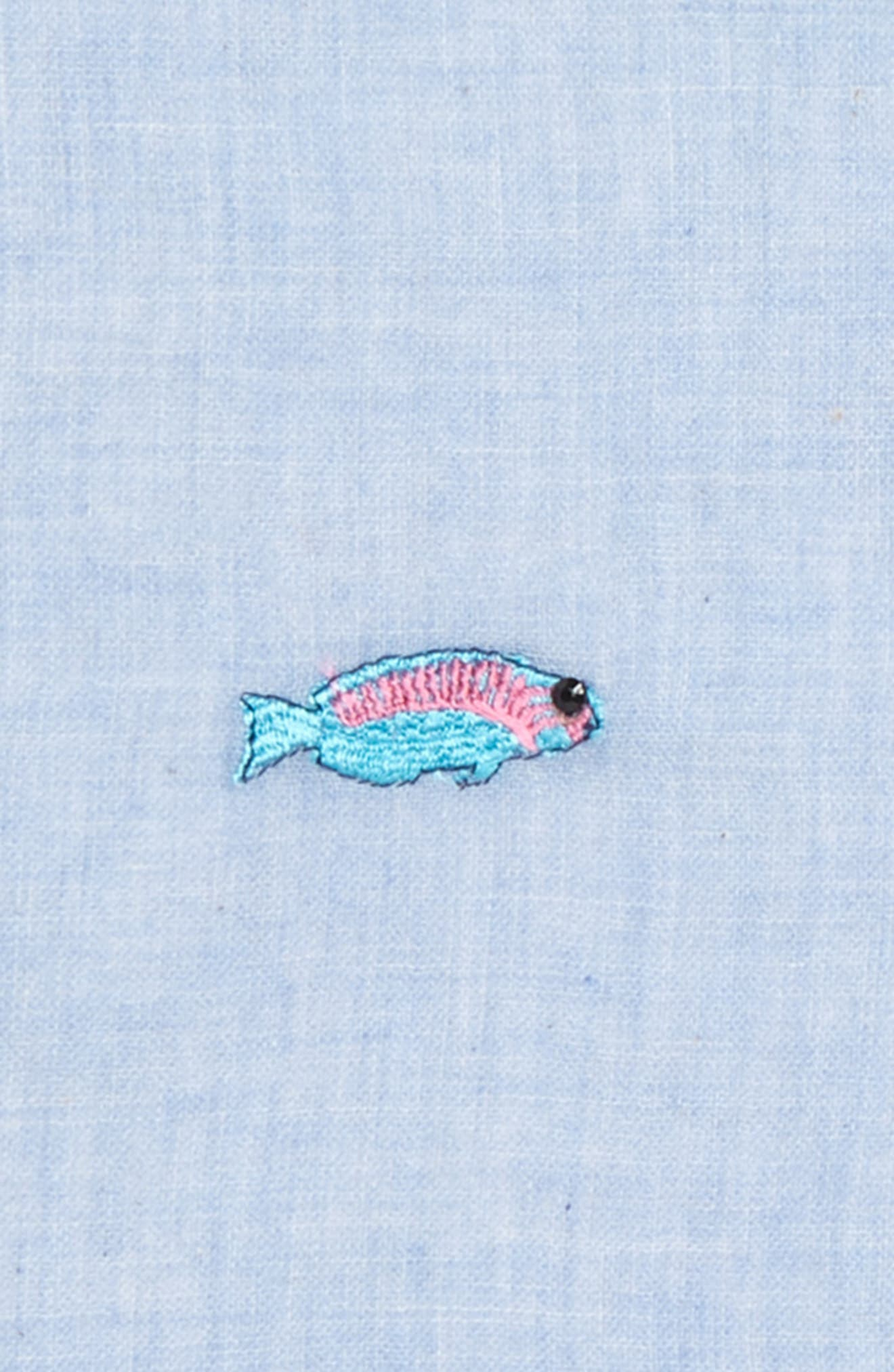 Embroidered Fish Pocket Square,                             Alternate thumbnail 3, color,                             424