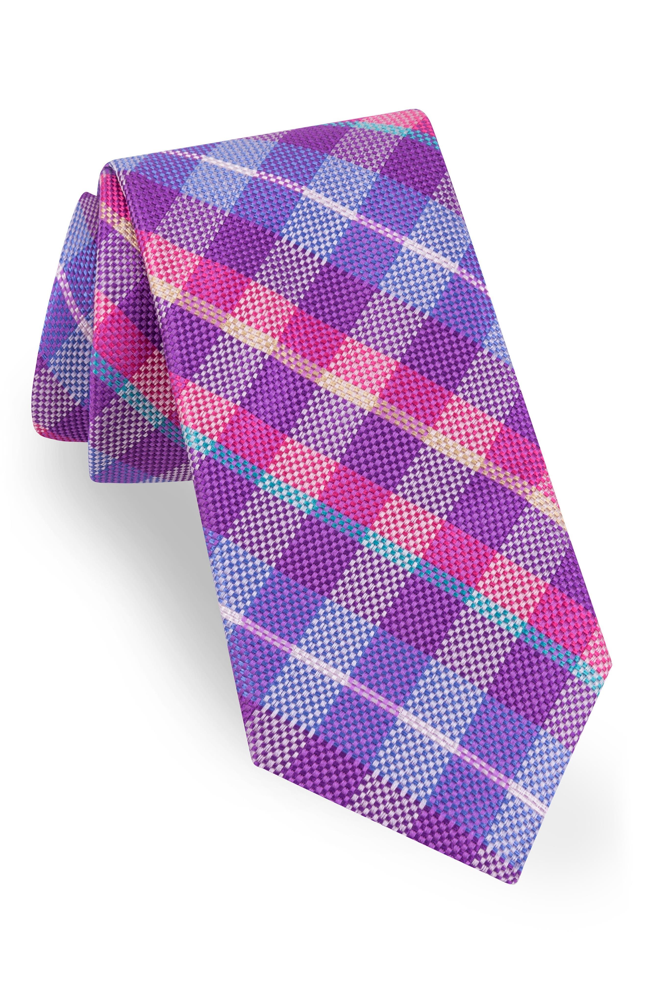 Plaid Silk Tie,                             Main thumbnail 4, color,