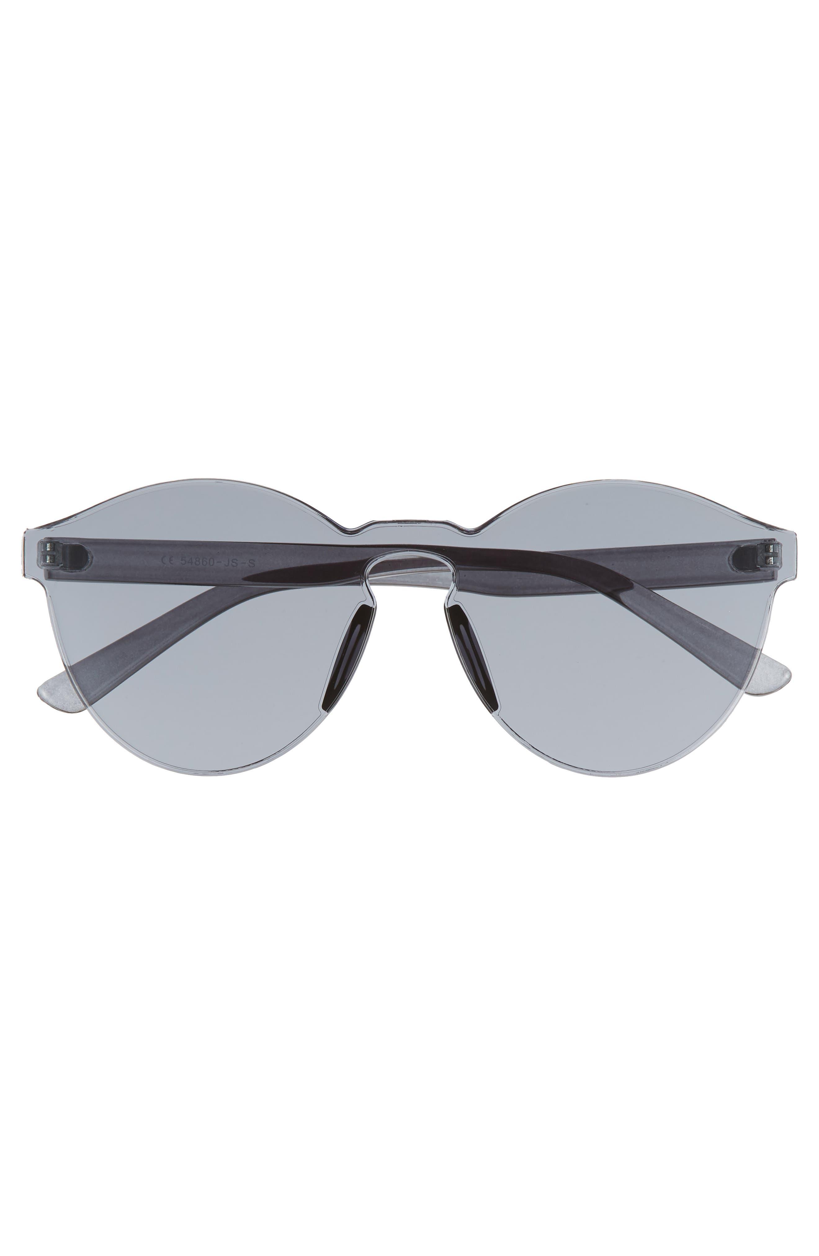 56mm Rimless Round Sunglasses,                             Alternate thumbnail 3, color,                             001