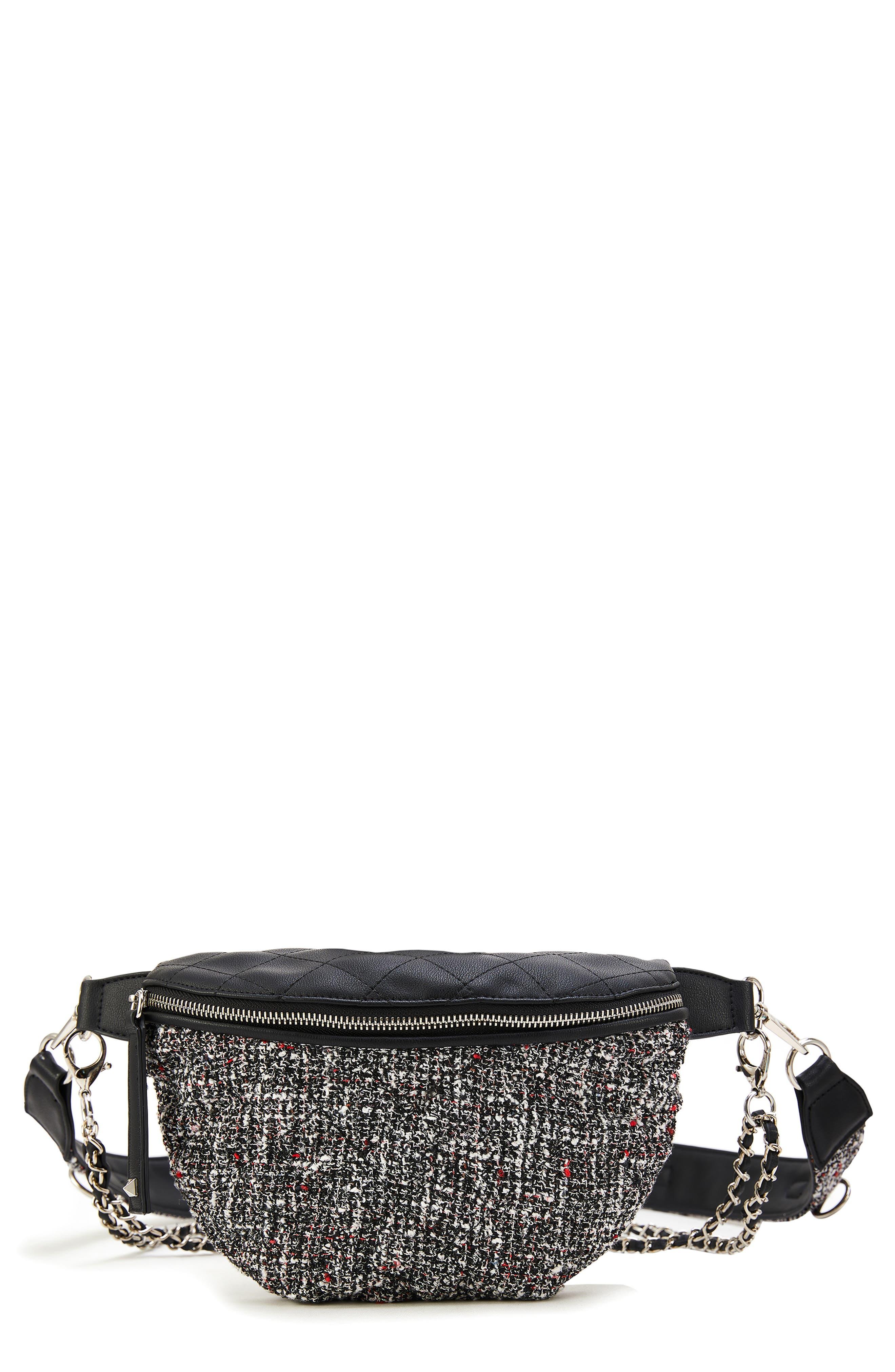 Tweed Belt Bag,                         Main,                         color, BLACK