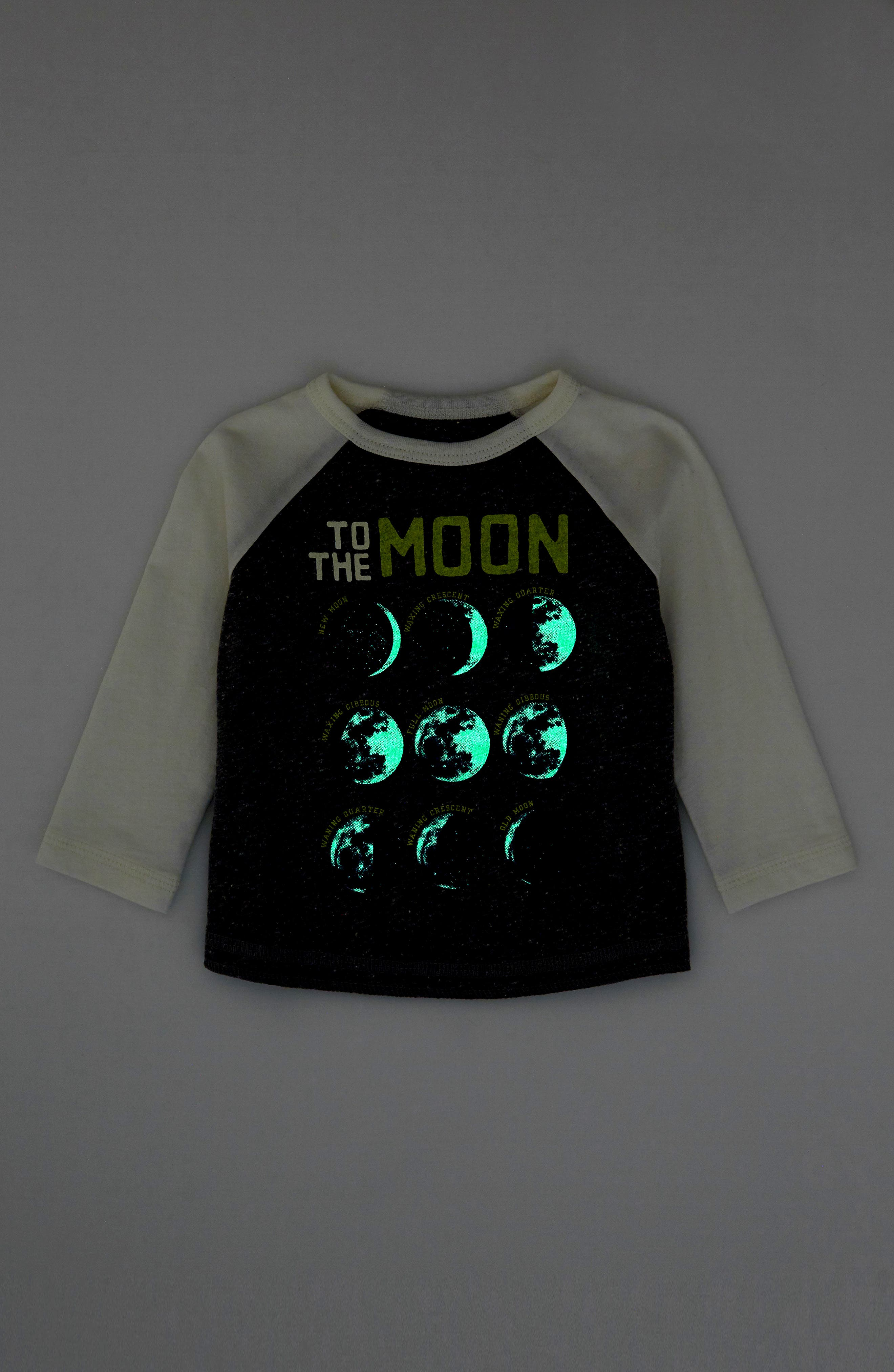 Moon and Back Glow in the Dark Raglan T-Shirt,                             Alternate thumbnail 3, color,                             HEATHER GREY