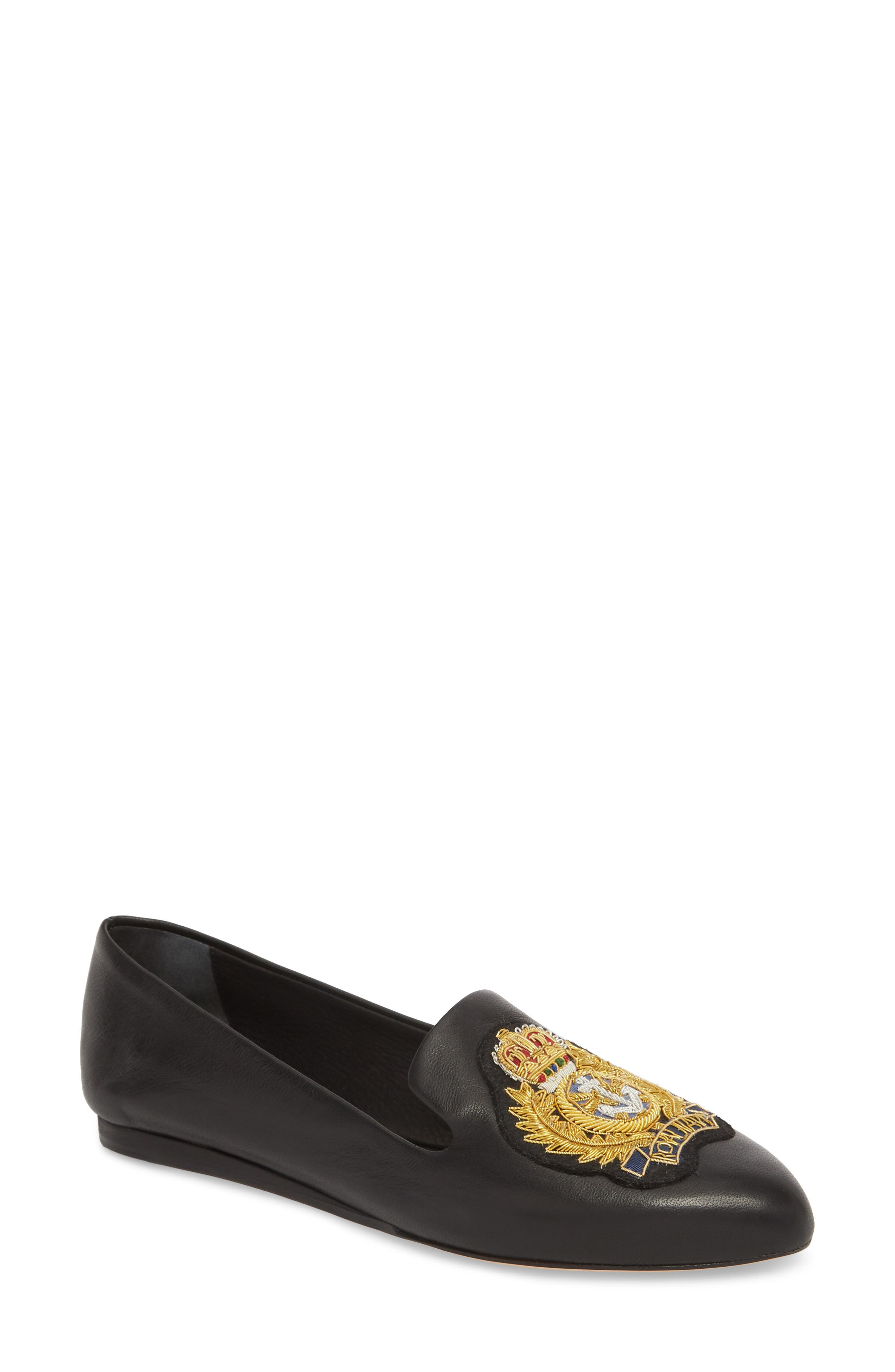 Griffin Pointy Toe Loafer,                         Main,                         color, BLACK LEATHER