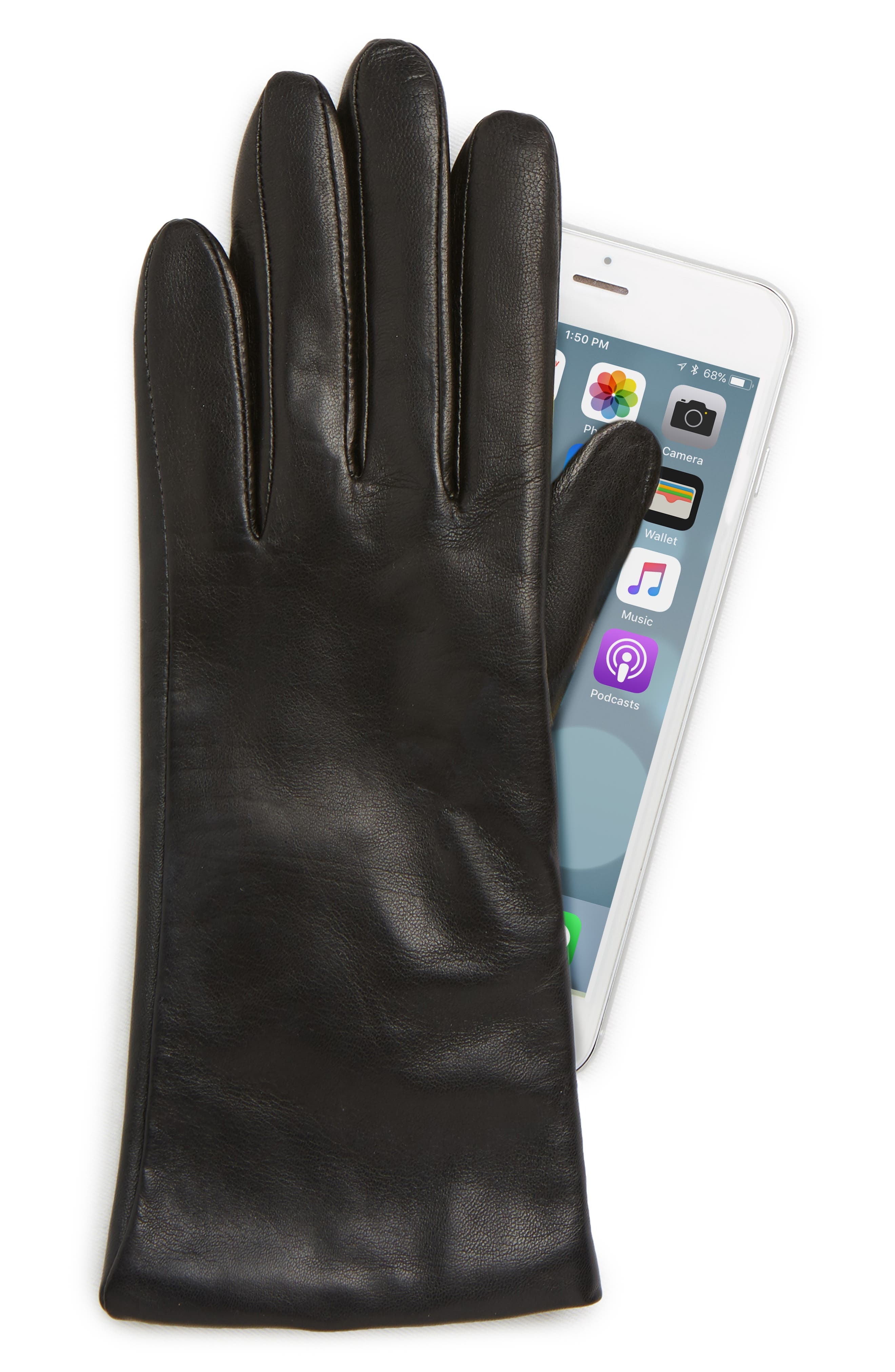 Cashmere Lined Leather Touchscreen Gloves,                             Alternate thumbnail 2, color,                             BLACK