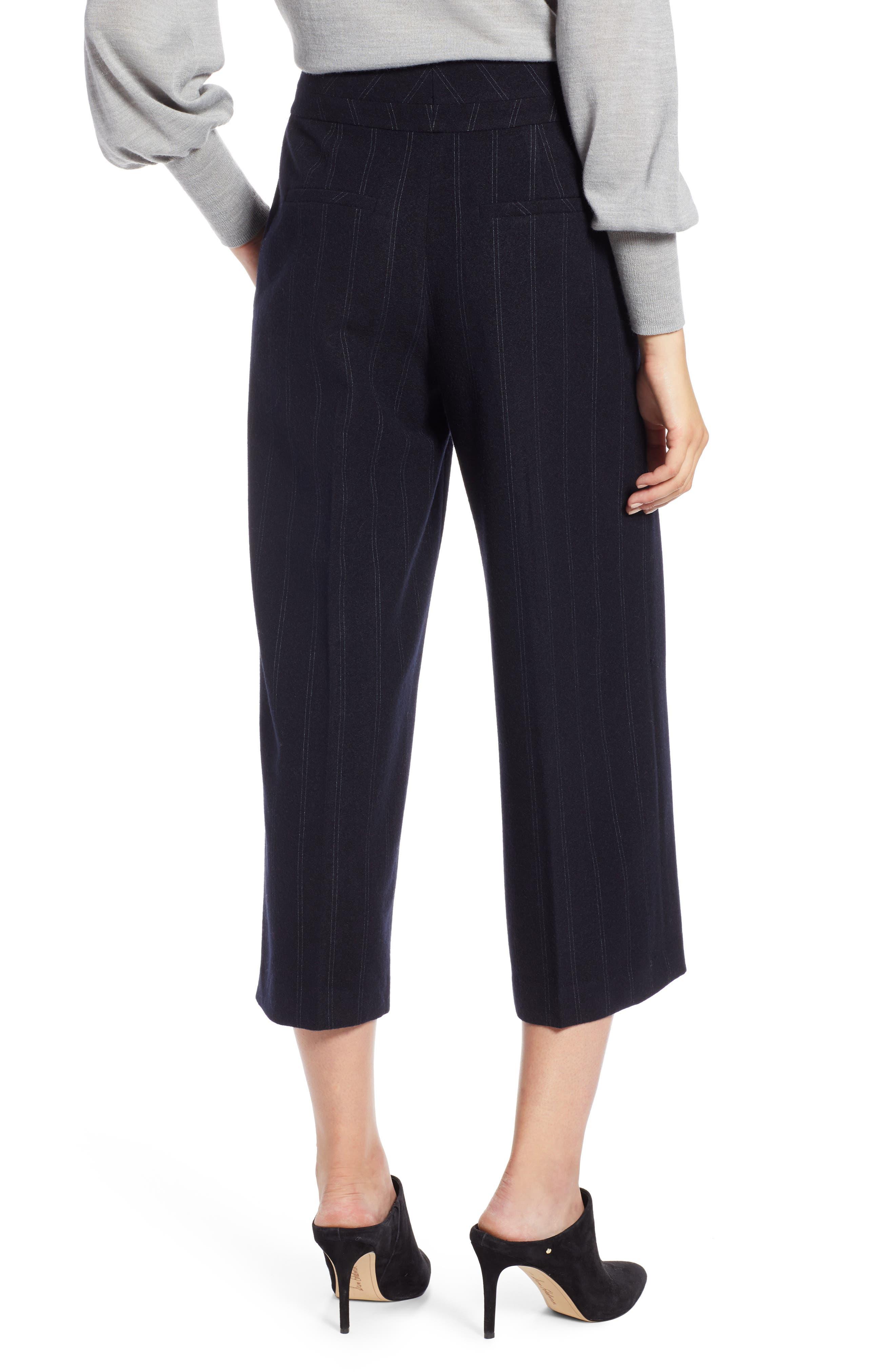 Stripe Wide Leg Crop Suit Pants,                             Alternate thumbnail 2, color,                             410