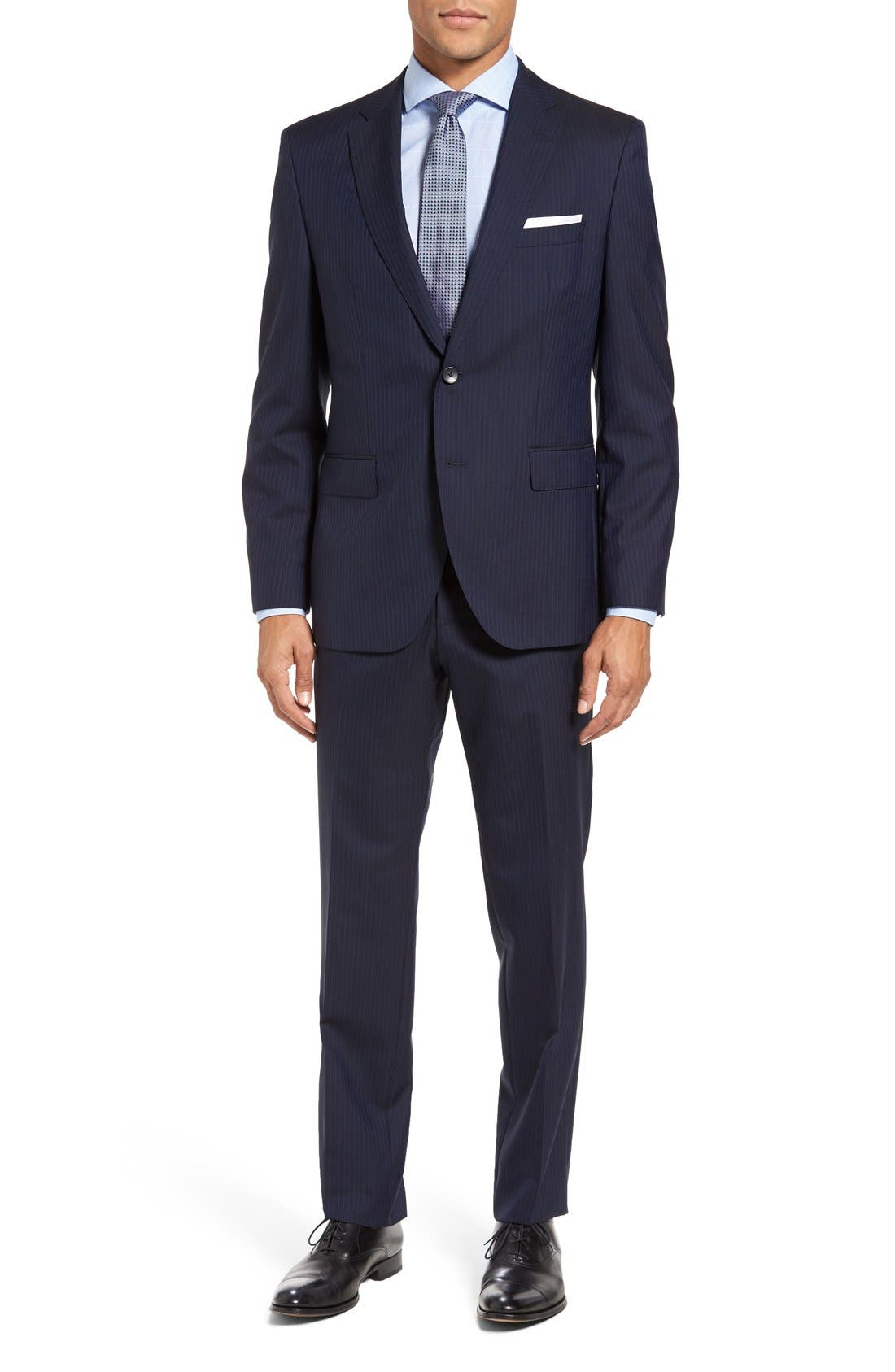 BOSS Johnstons/Lenon Trim Fit Stripe Wool Suit,                             Main thumbnail 1, color,                             402
