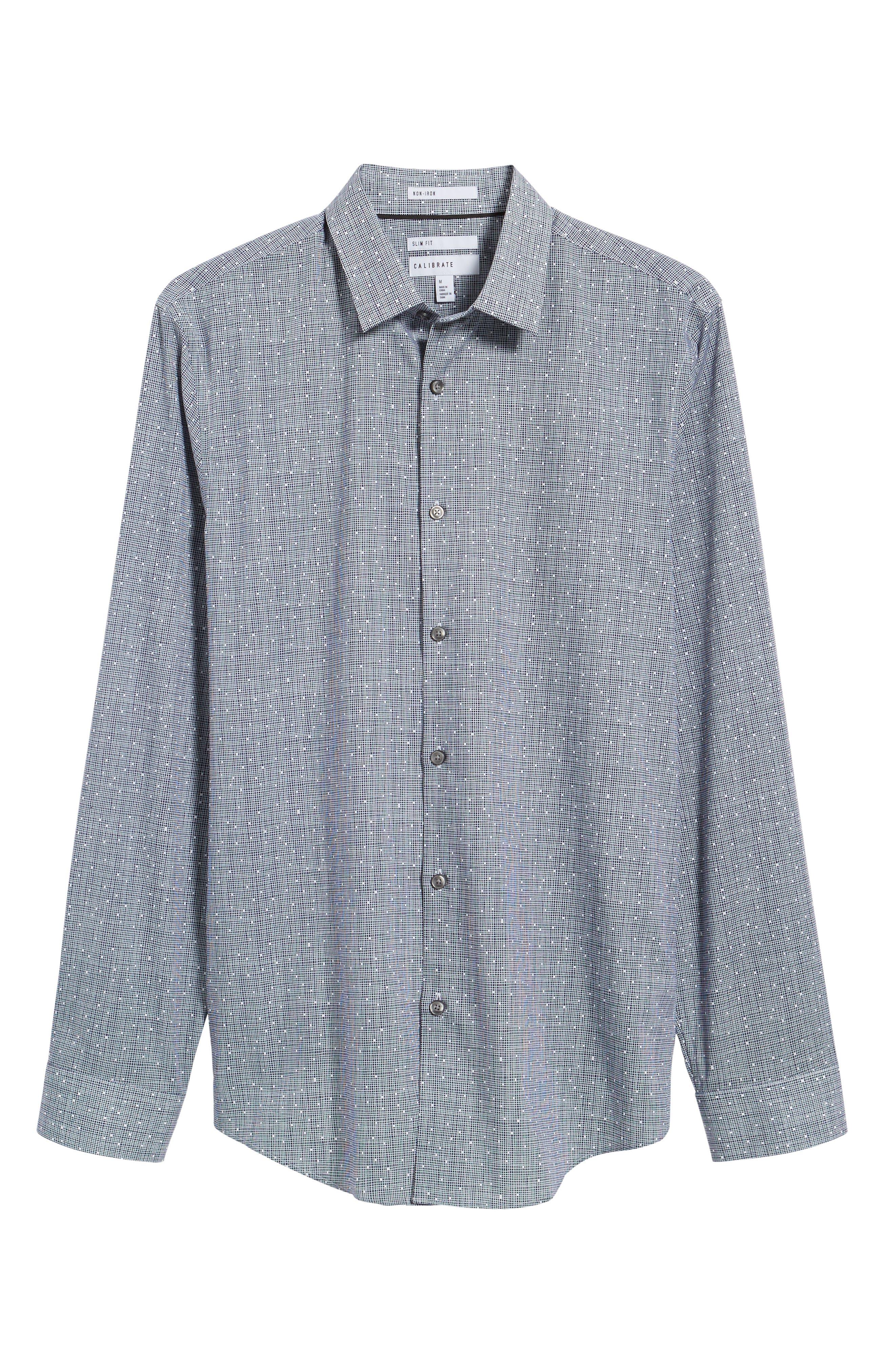 Slim Fit No-Iron Print Sport Shirt,                             Alternate thumbnail 6, color,