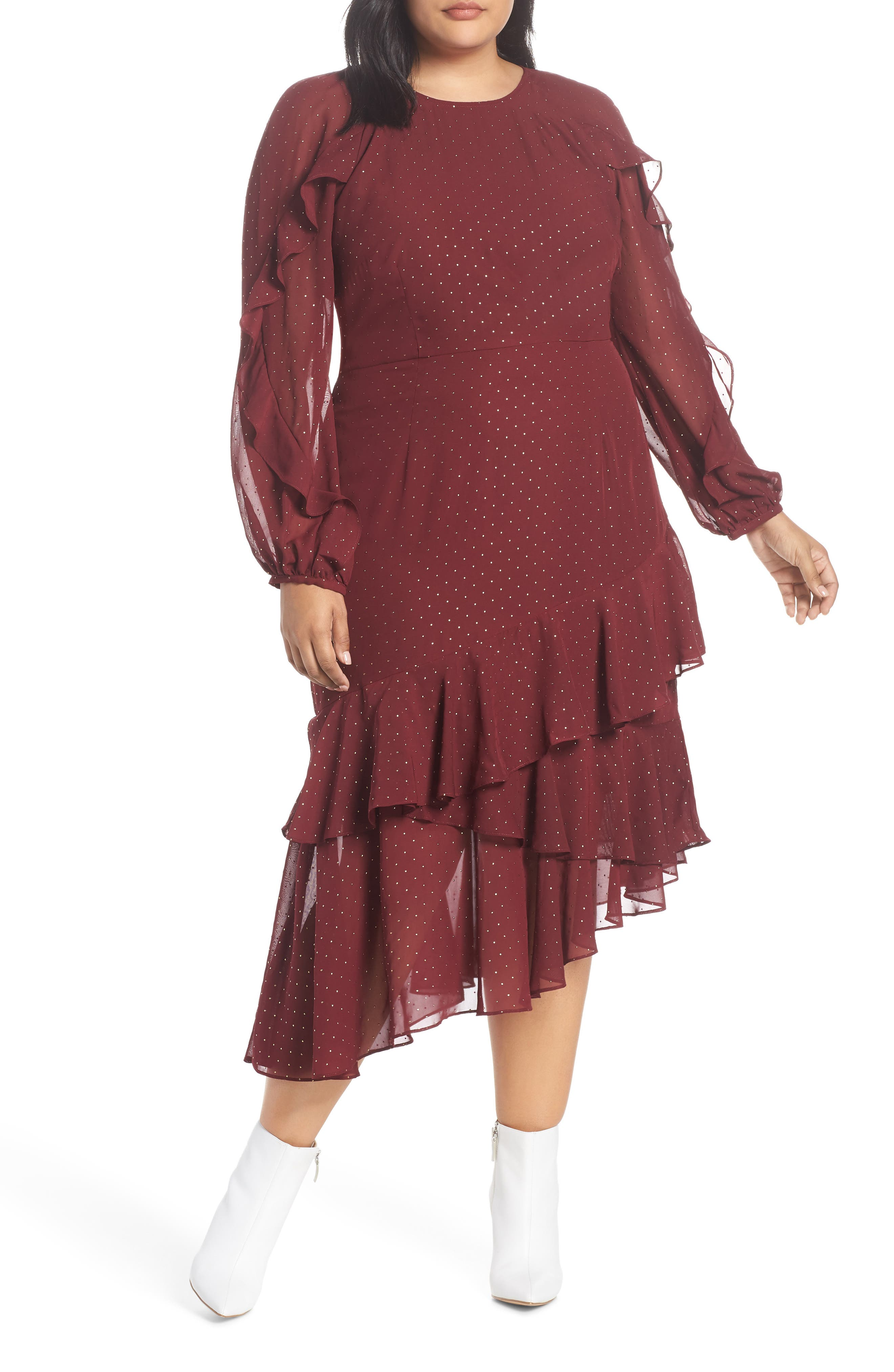 Texture Dot & Ruffle Trim Dress,                         Main,                         color, RUBY WINE