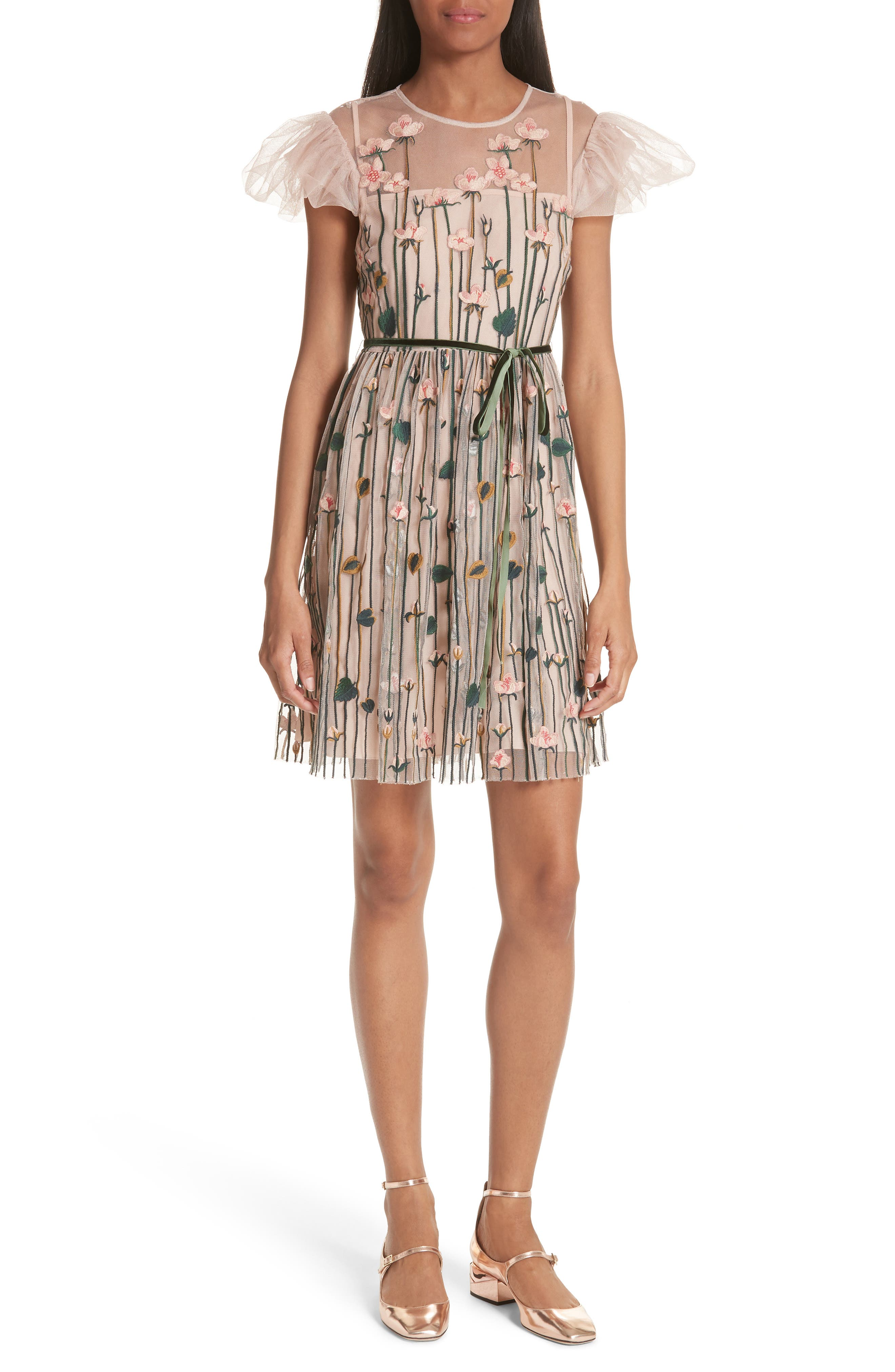 Floral Embroidered Dress,                         Main,                         color, NUDE