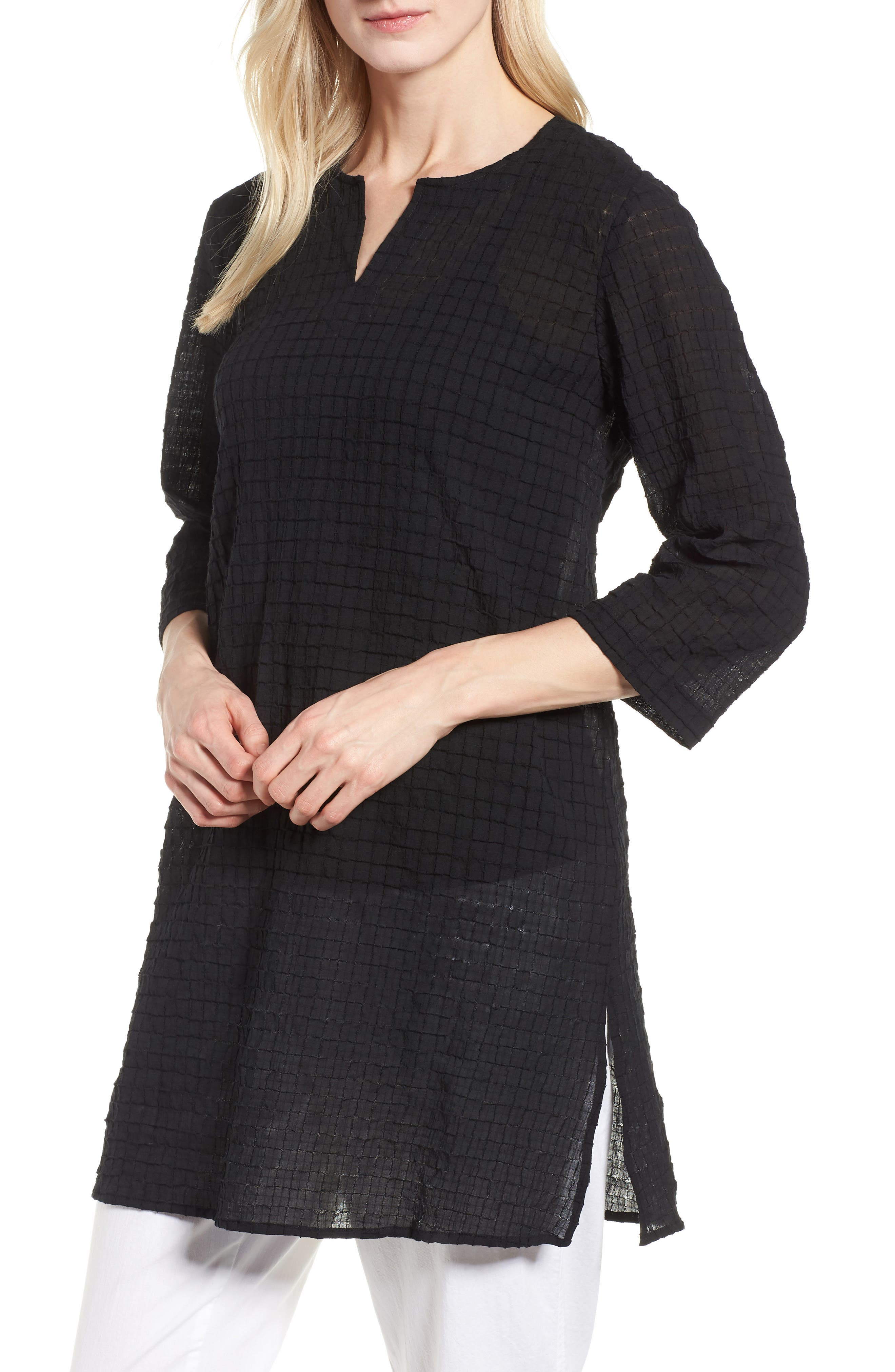 EILEEN FISHER,                             Stretch Organic Cotton Tunic,                             Main thumbnail 1, color,                             001
