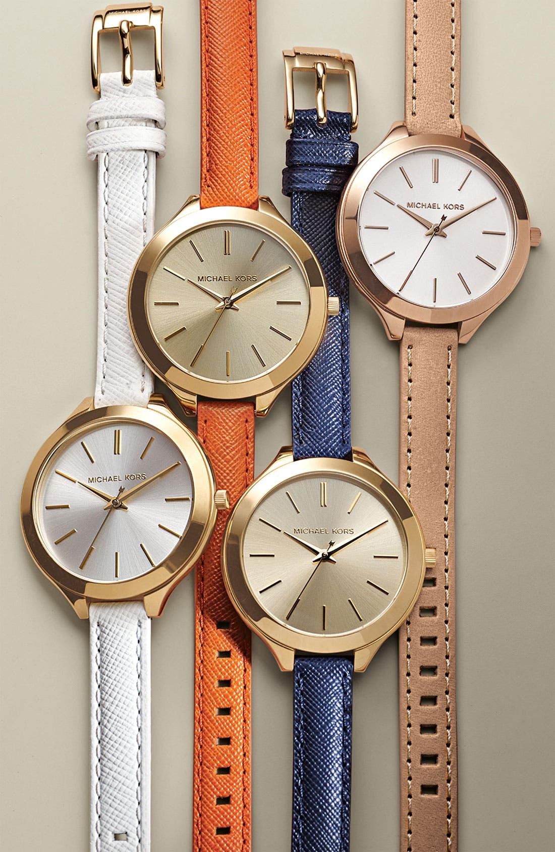 Michael Kors 'Slim Runway' Leather Strap Watch, 42mm,                             Alternate thumbnail 3, color,                             100