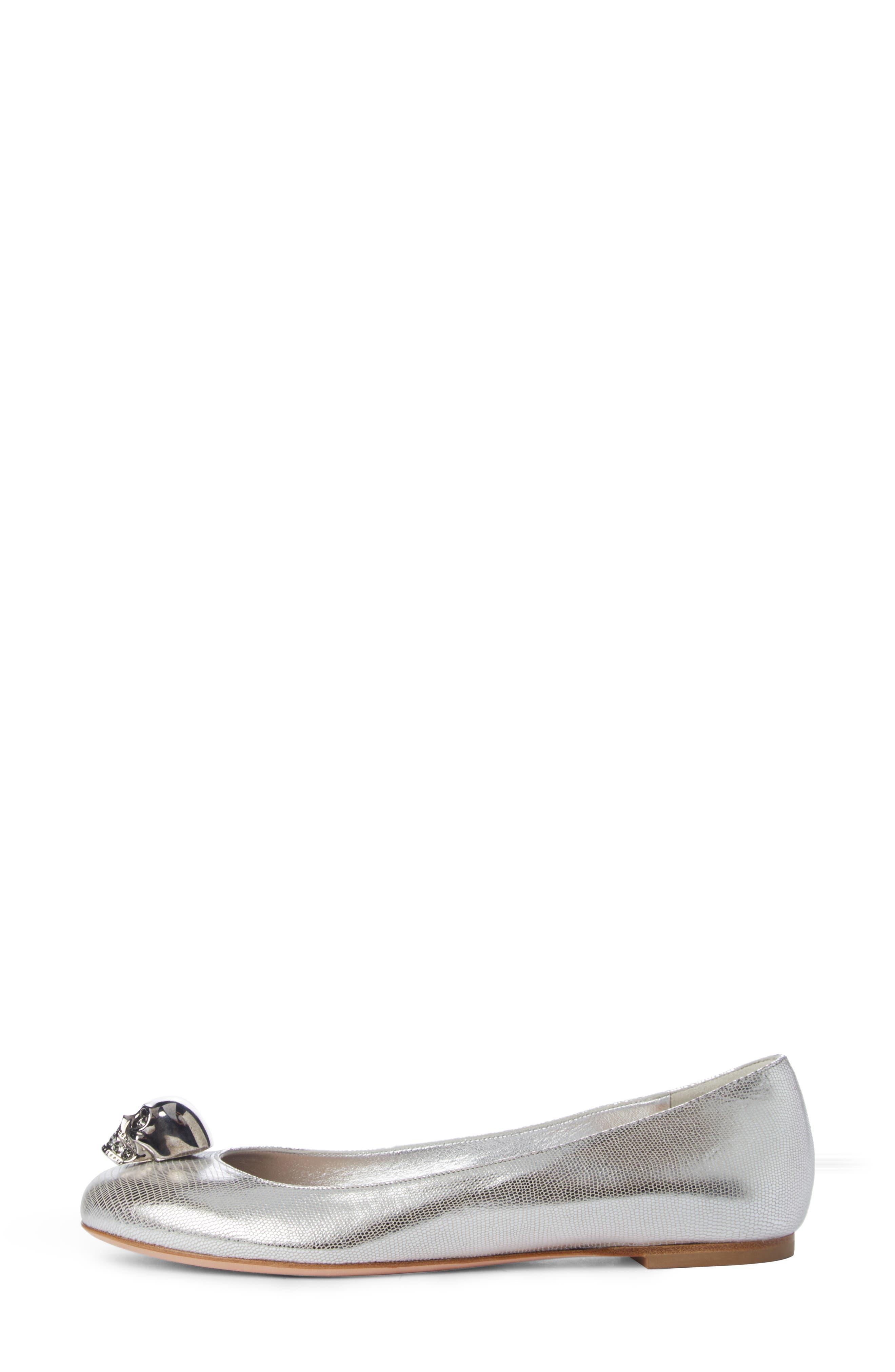 Skullhead Metallic Slipper Flat,                             Alternate thumbnail 3, color,