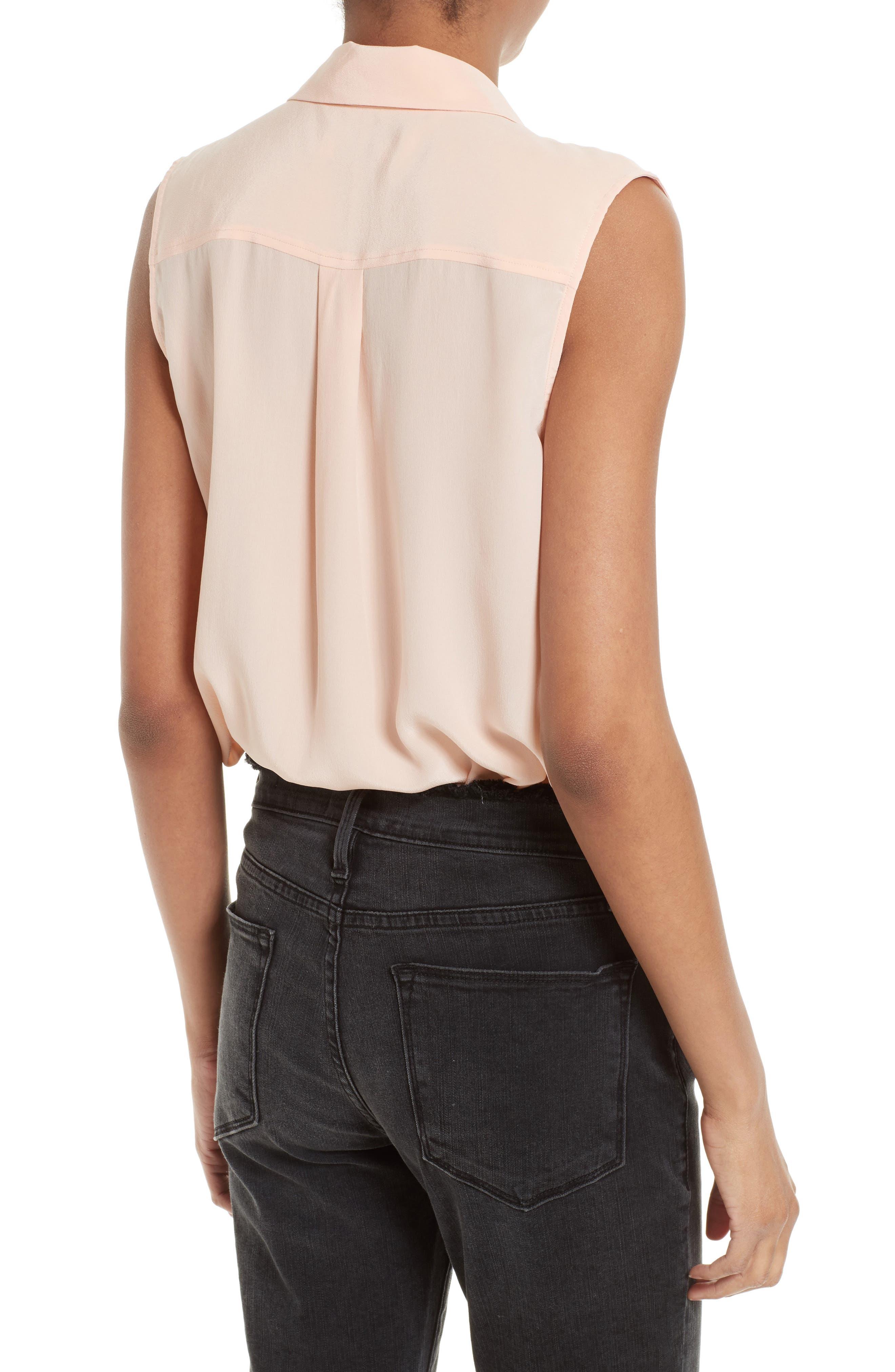 'Slim Signature' Sleeveless Silk Shirt,                             Main thumbnail 11, color,