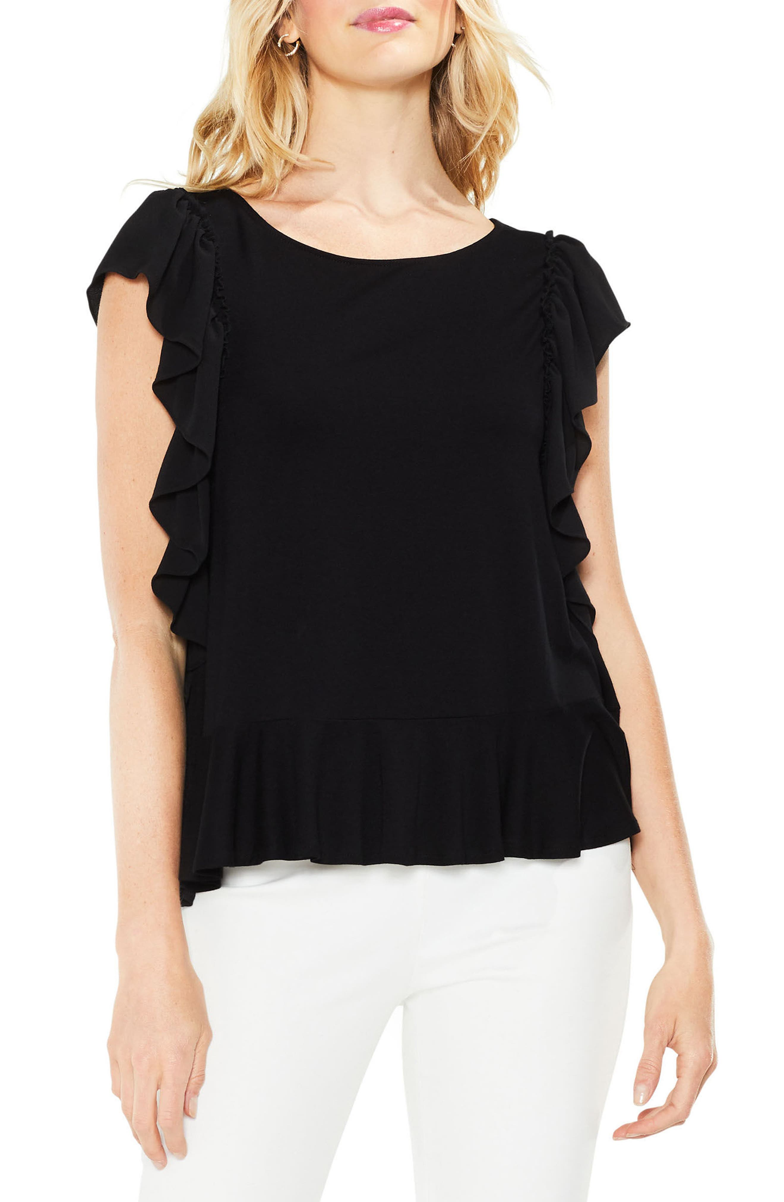 Ruffle Sleeve Mix Media Top,                         Main,                         color, 006