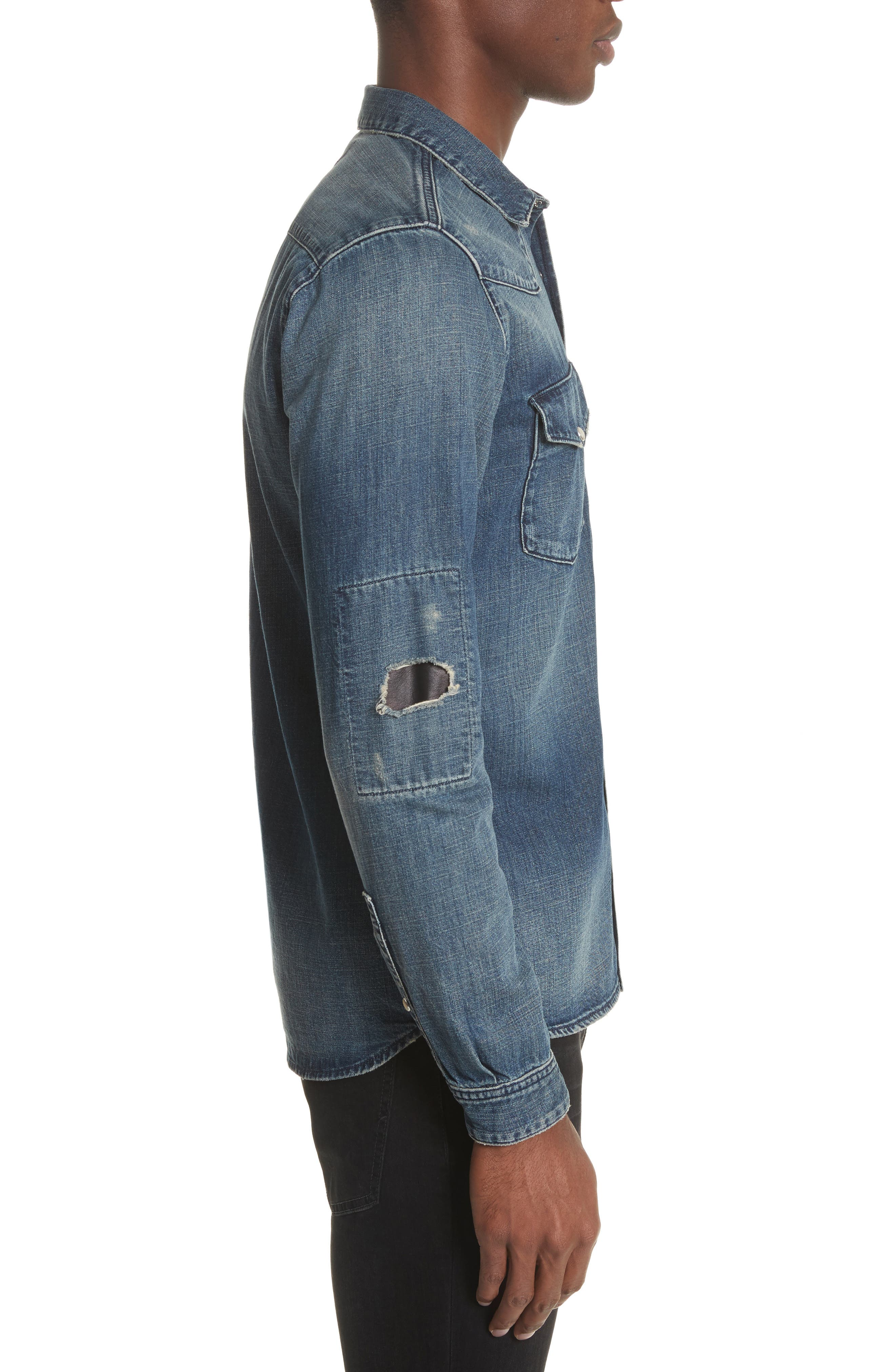 Distressed Denim Western Shirt,                             Alternate thumbnail 3, color,                             400