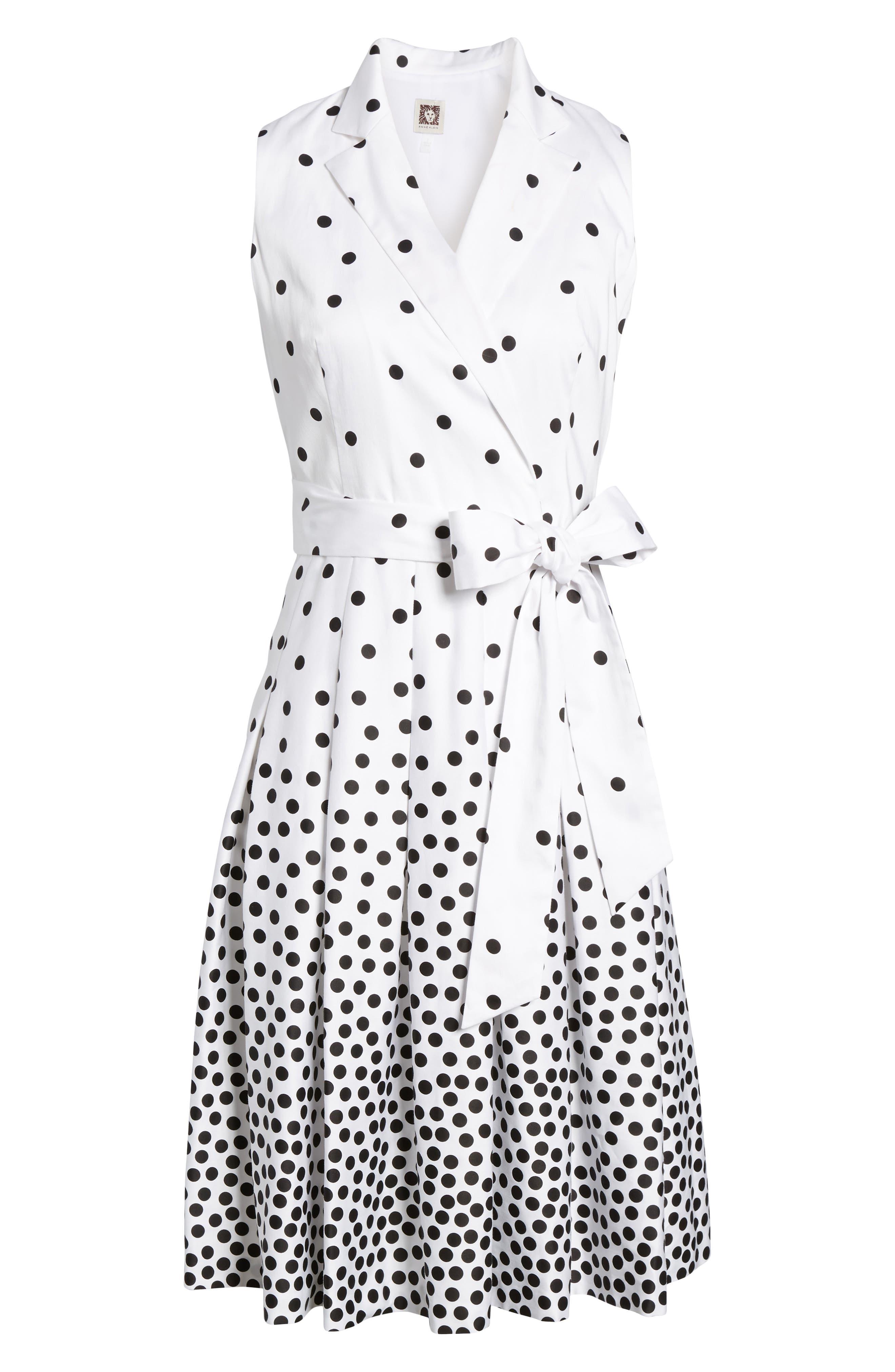 Scattered Dot Notch Collar Dress,                             Alternate thumbnail 6, color,                             100