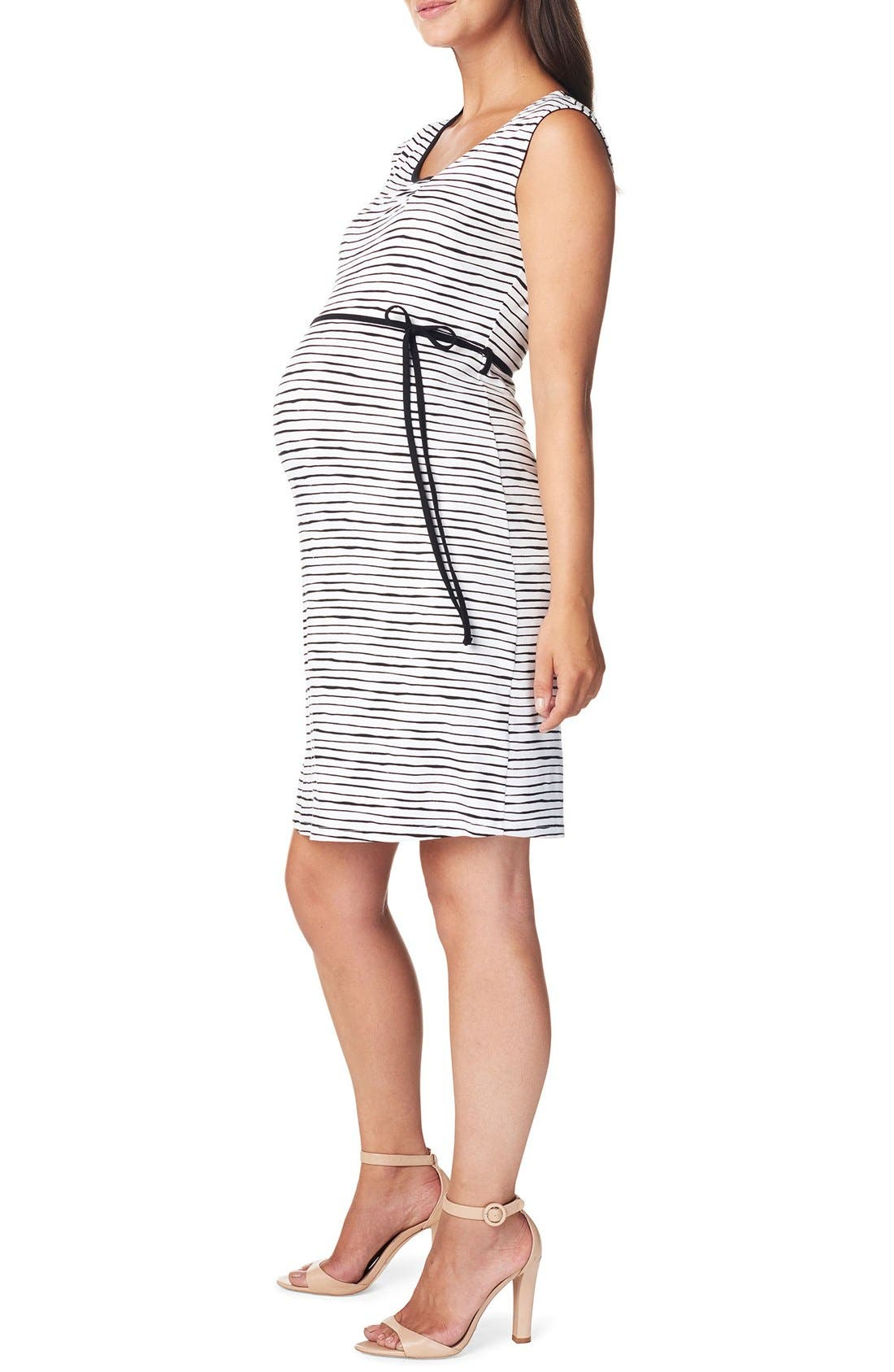 Mila Maternity Dress,                             Alternate thumbnail 3, color,                             BLACK