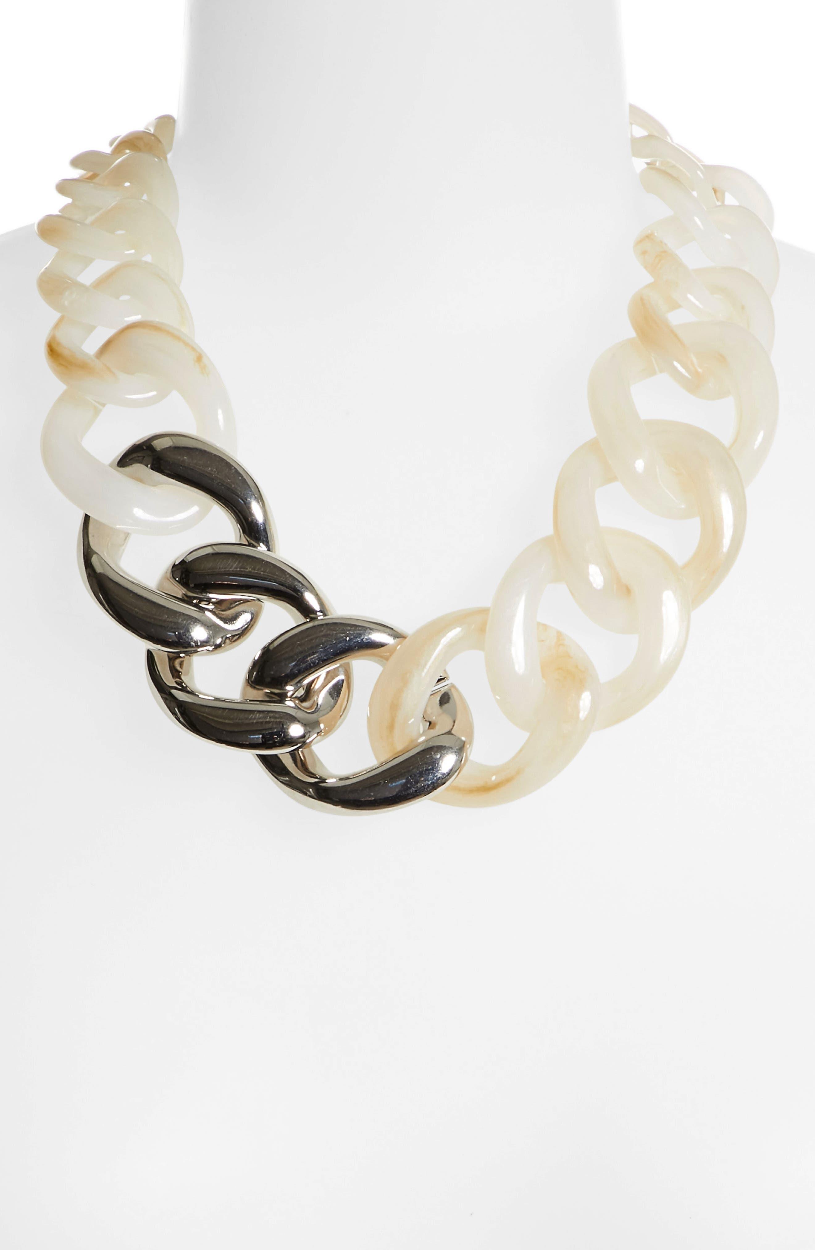 Chain Link Statement Necklace,                             Alternate thumbnail 4, color,