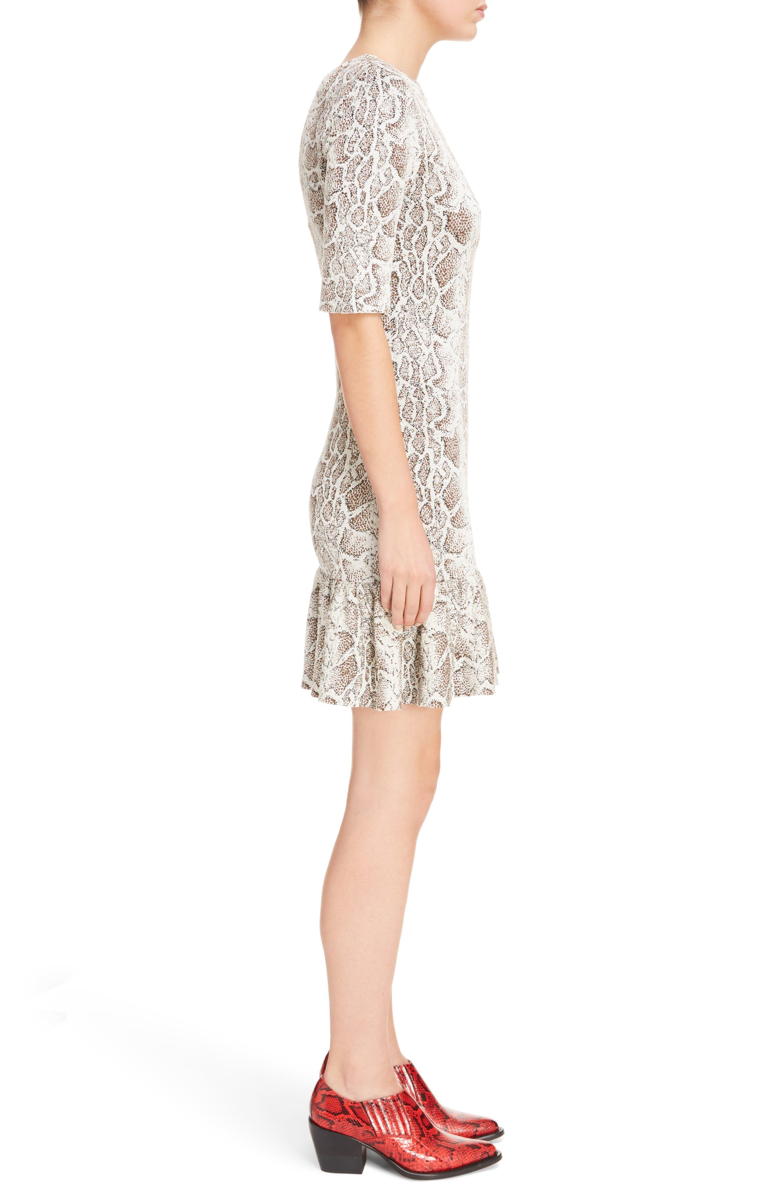 Python Jacquard Ruffle Hem Dress,                             Alternate thumbnail 3, color,                             240