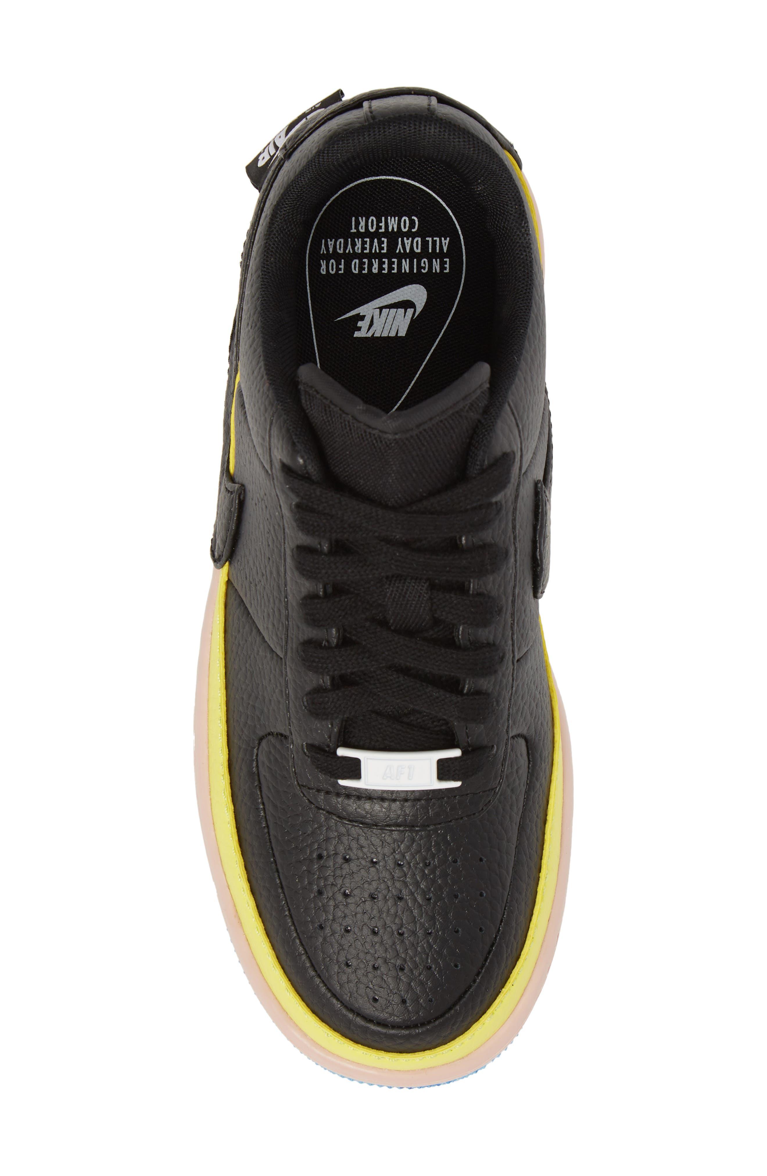 Air Force 1 Jester XX Sneaker,                             Alternate thumbnail 5, color,                             BLACK/ SONIC YELLOW/ ORANGE