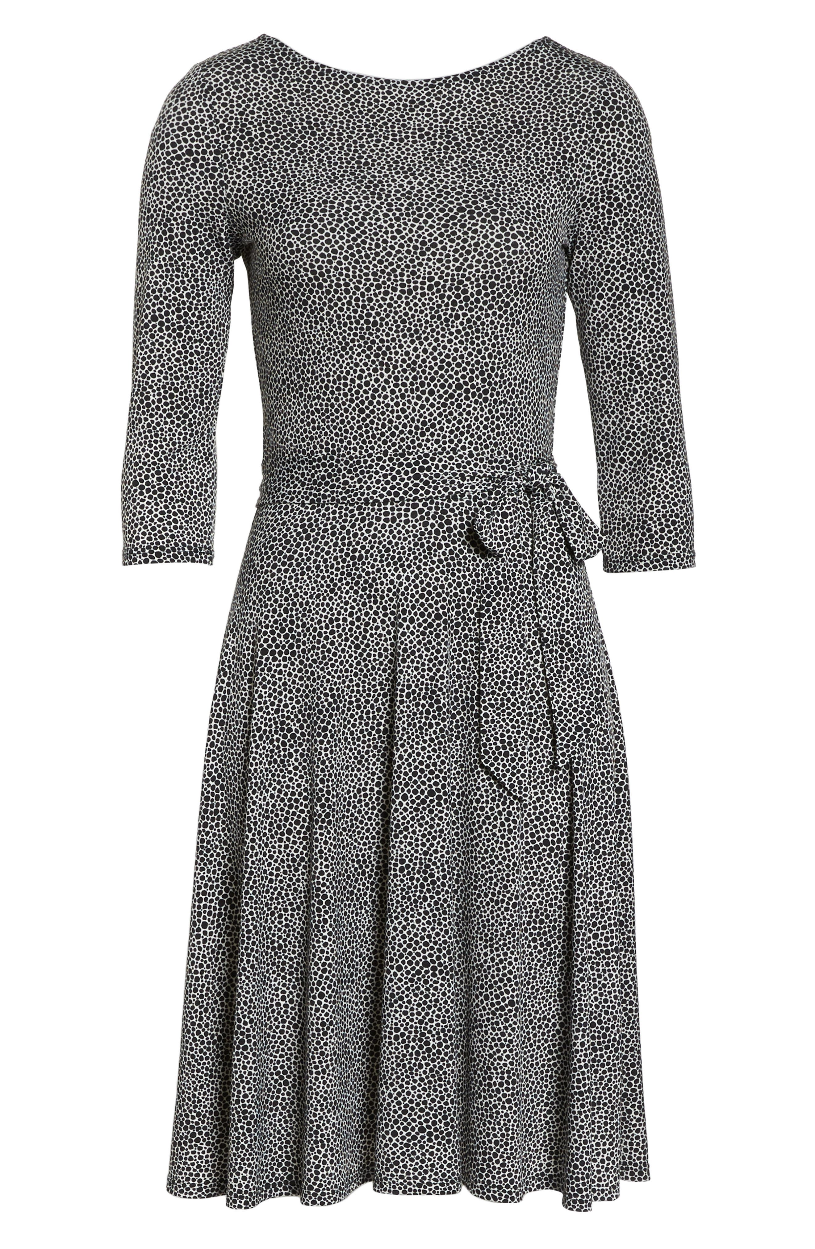 Belted Print Jersey A-Line Dress,                             Alternate thumbnail 7, color,                             PEBBLE