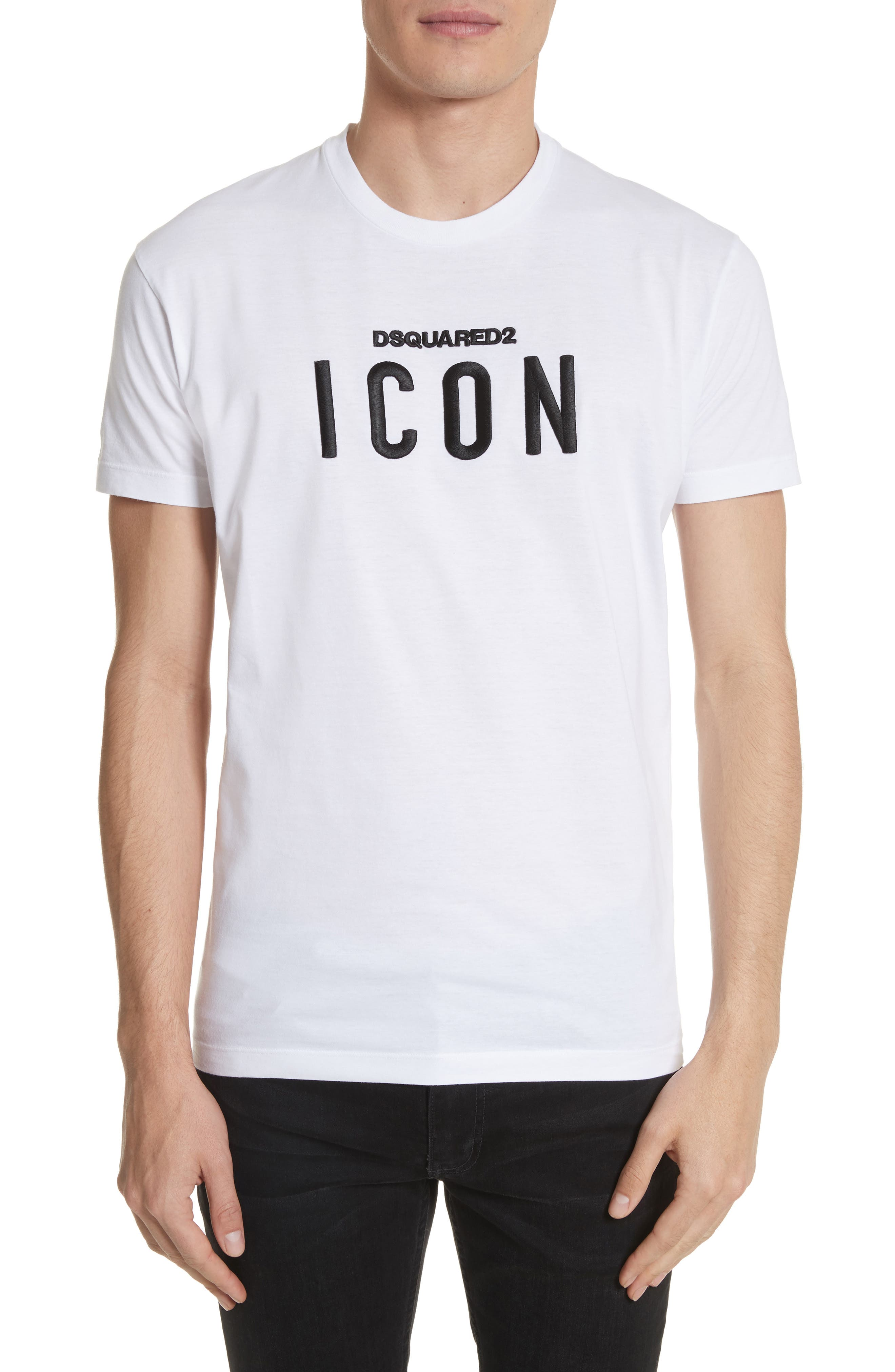 DSQUARED2,                             Icon Embroidered T-Shirt,                             Main thumbnail 1, color,                             100