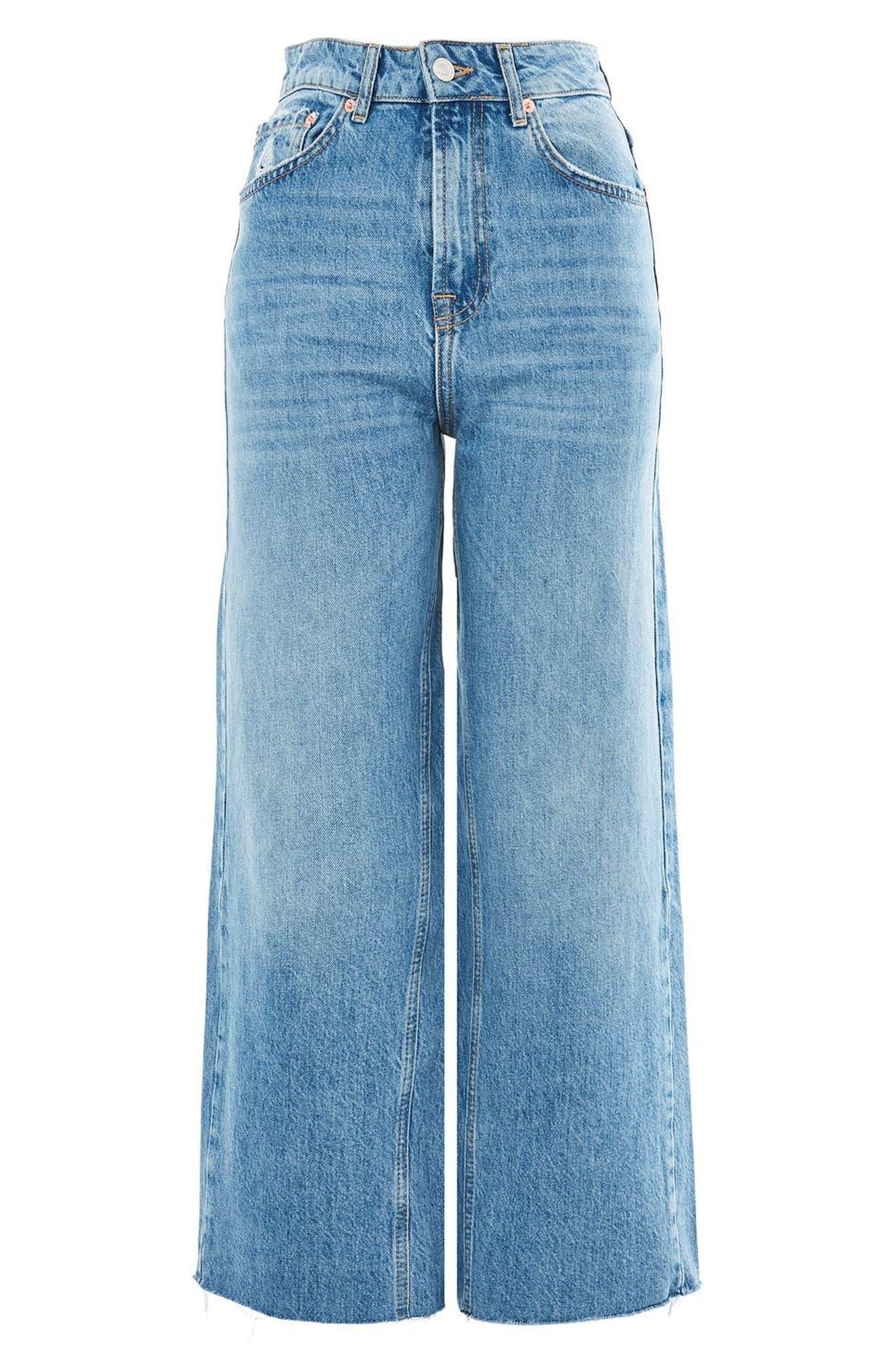 Crop Wide Leg Jeans,                             Alternate thumbnail 3, color,                             MID BLUE