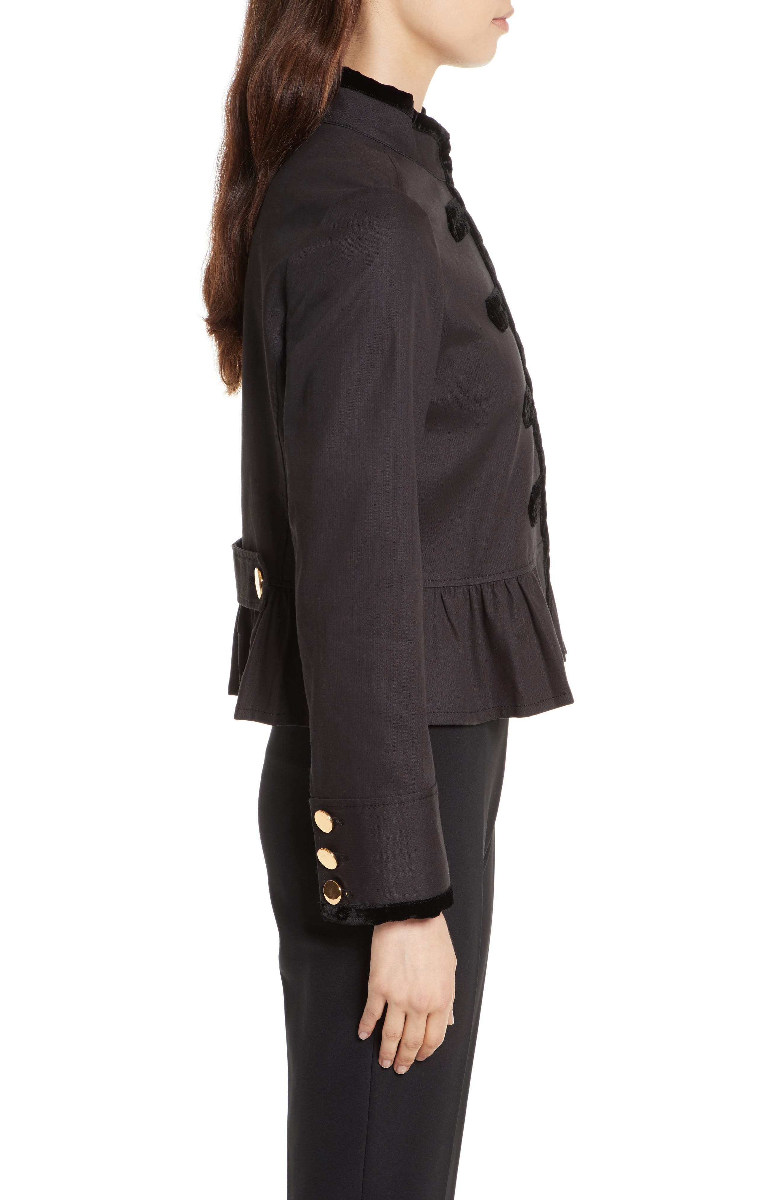 velvet trim military jacket,                             Alternate thumbnail 3, color,                             001