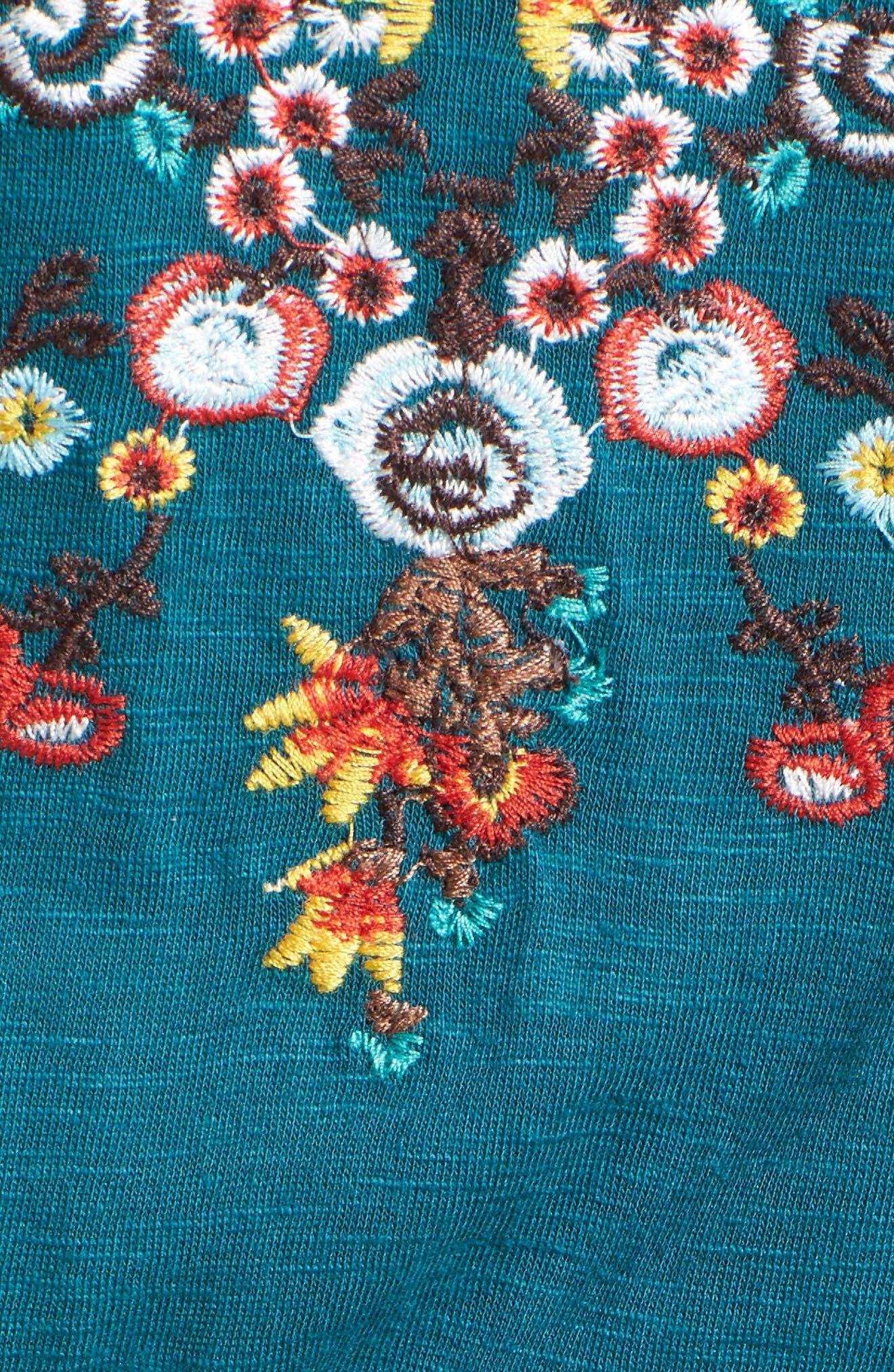 Embroidered Blouson Cold Shoulder Dress,                             Alternate thumbnail 5, color,                             360